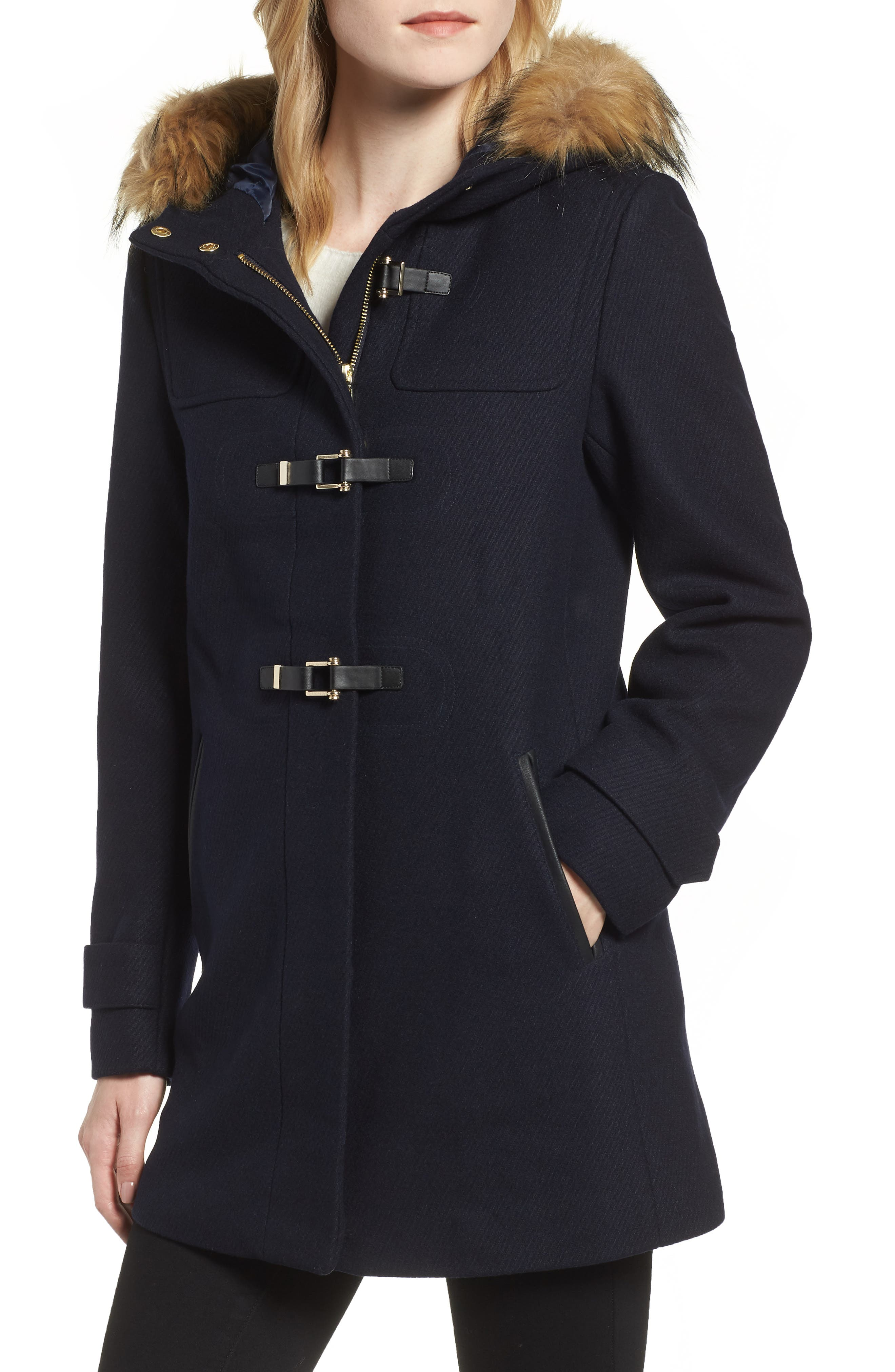 Cole Haan Hooded Duffle Coat with Faux Fur Trim,                             Alternate thumbnail 4, color,                             MIDNIGHT