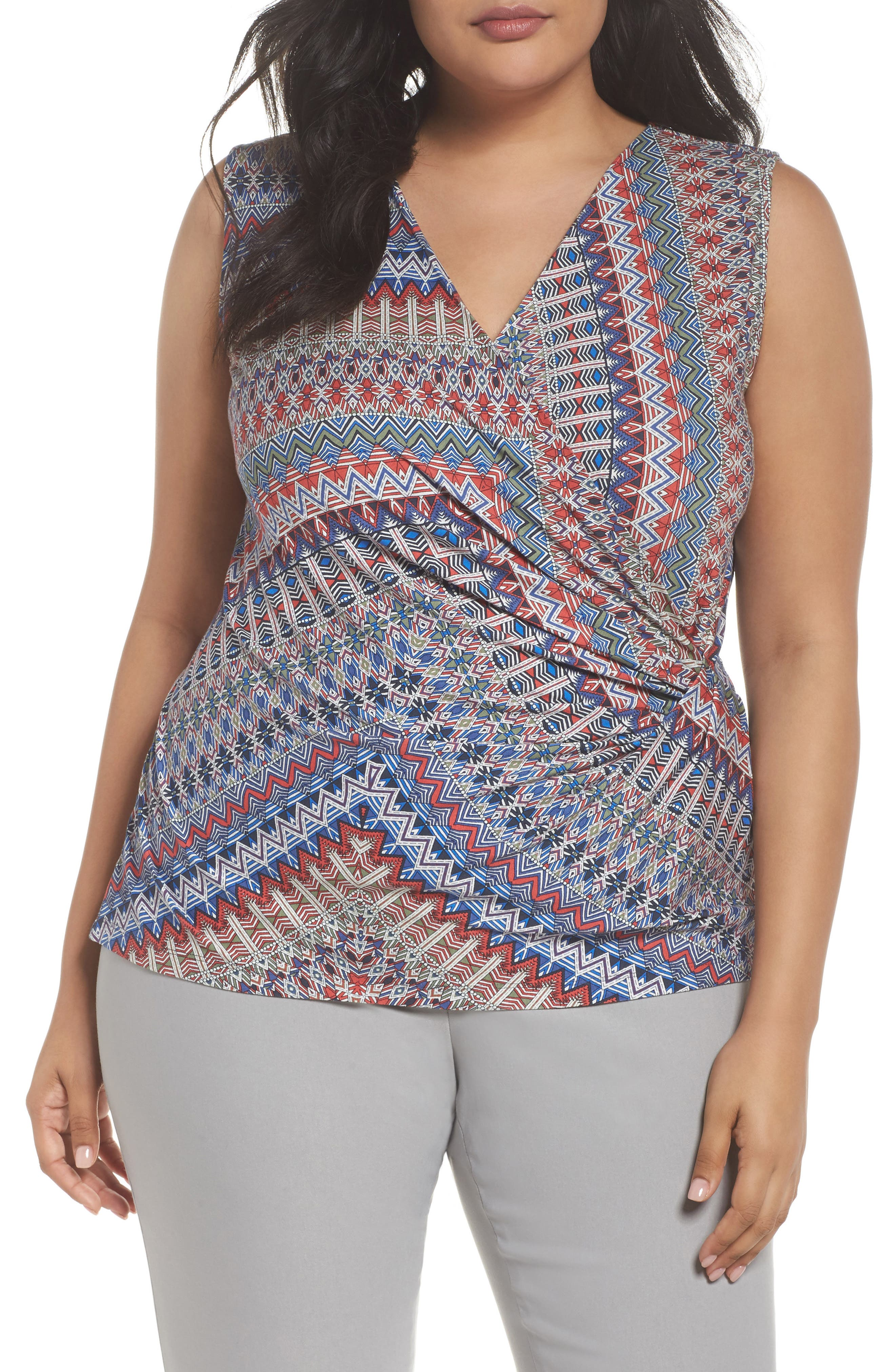 Zigzag Surplice Tank,                             Main thumbnail 1, color,