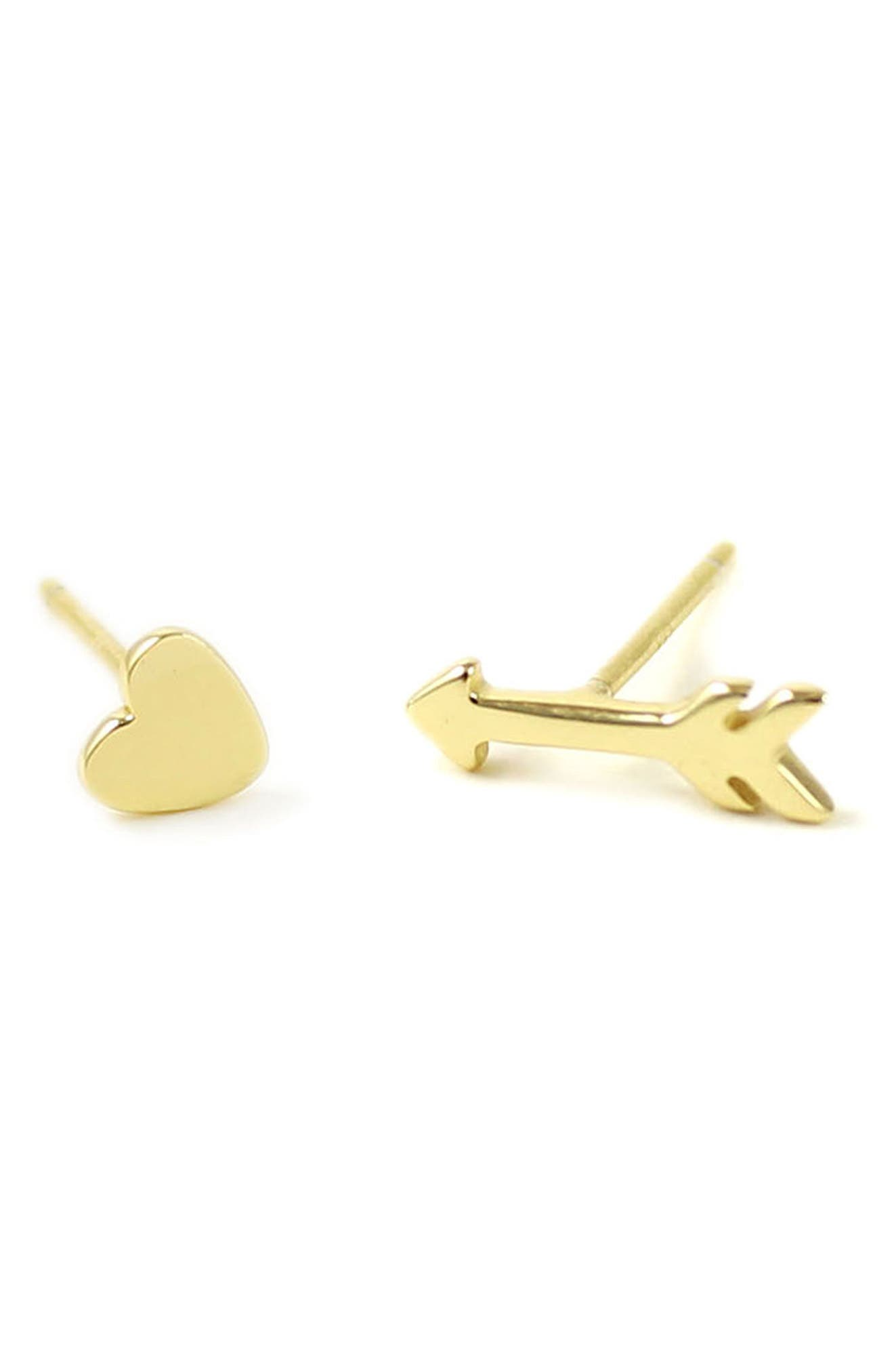Heart & Arrow Stud Earrings,                             Main thumbnail 1, color,                             GOLD