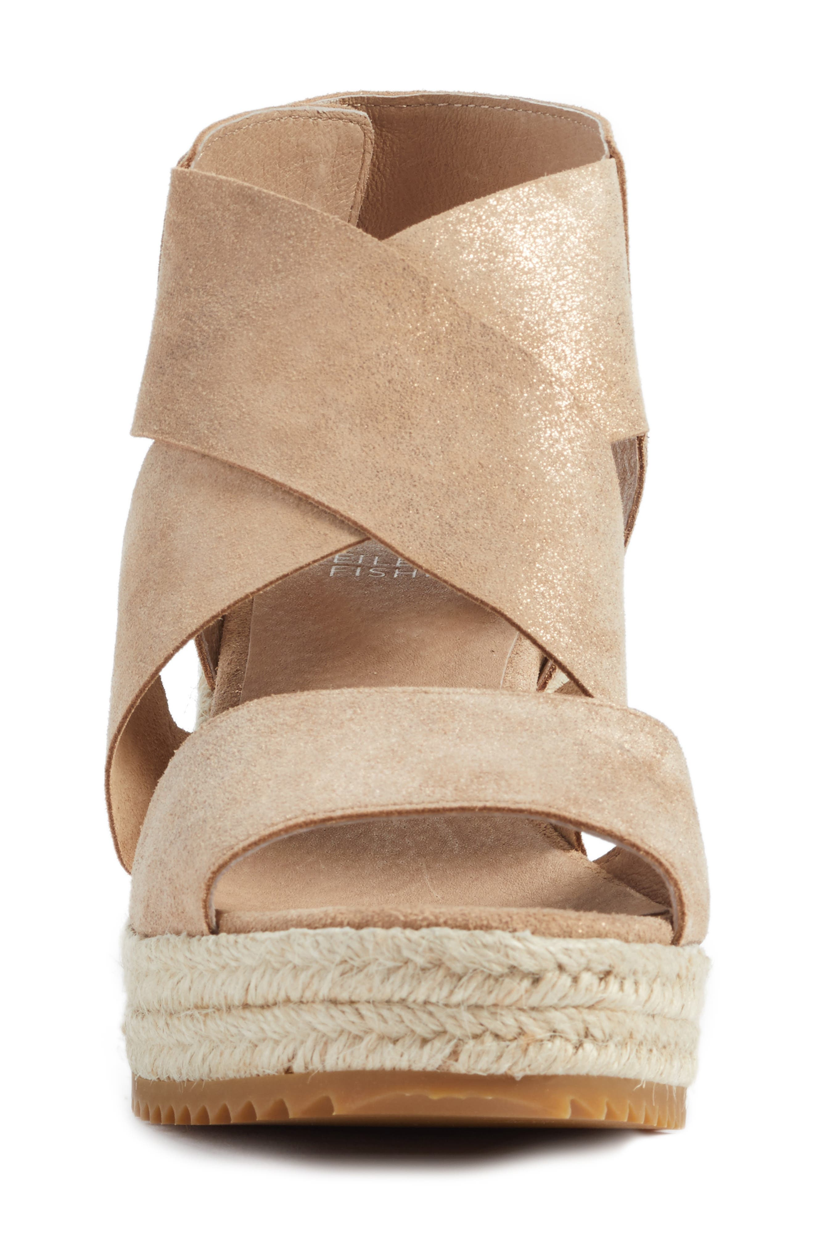 'Willow' Espadrille Wedge Sandal,                             Alternate thumbnail 4, color,                             LIGHT GOLD STARRY LEATHER