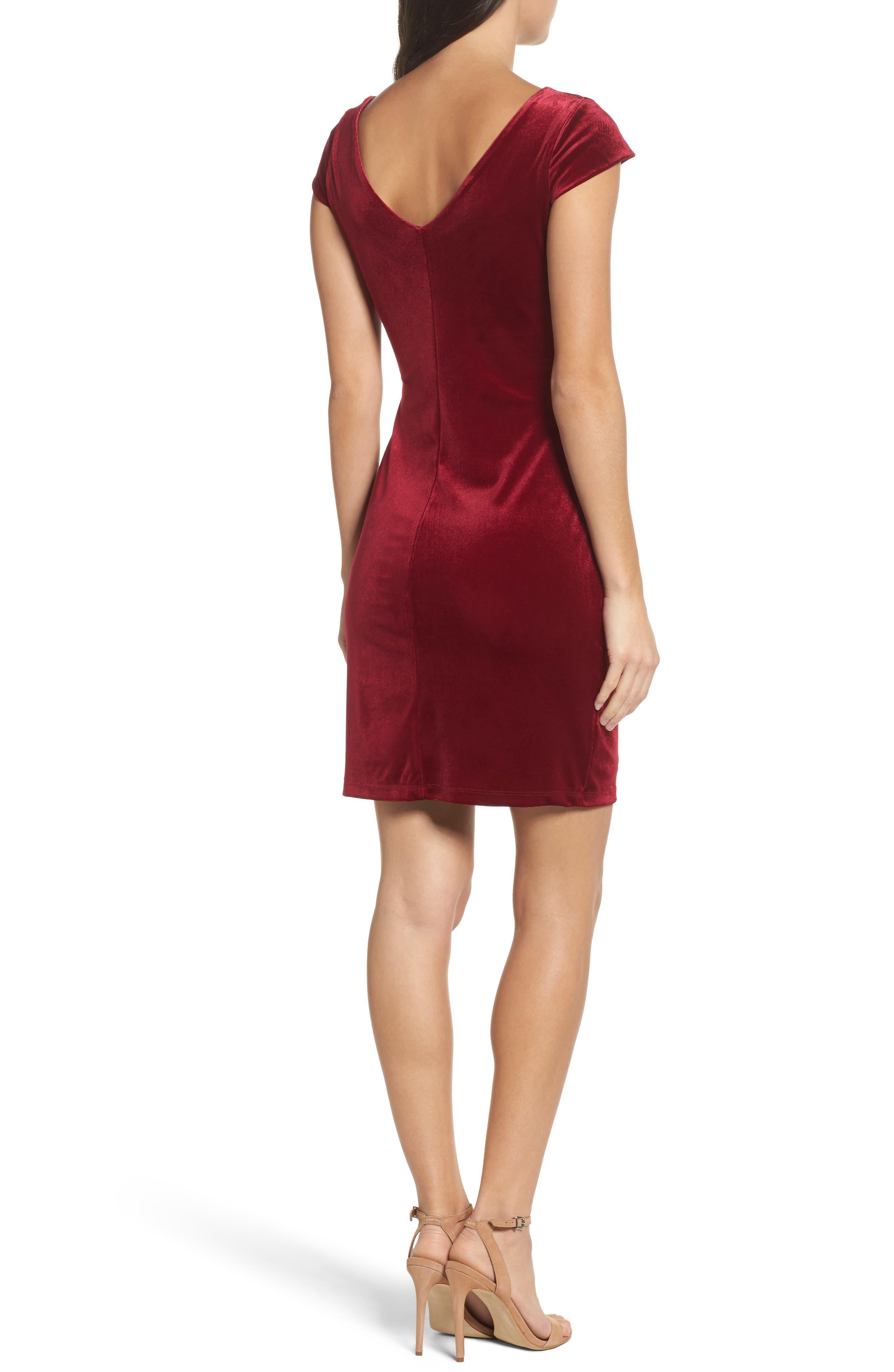 Pleat Side Velvet Dress,                             Alternate thumbnail 2, color,                             935