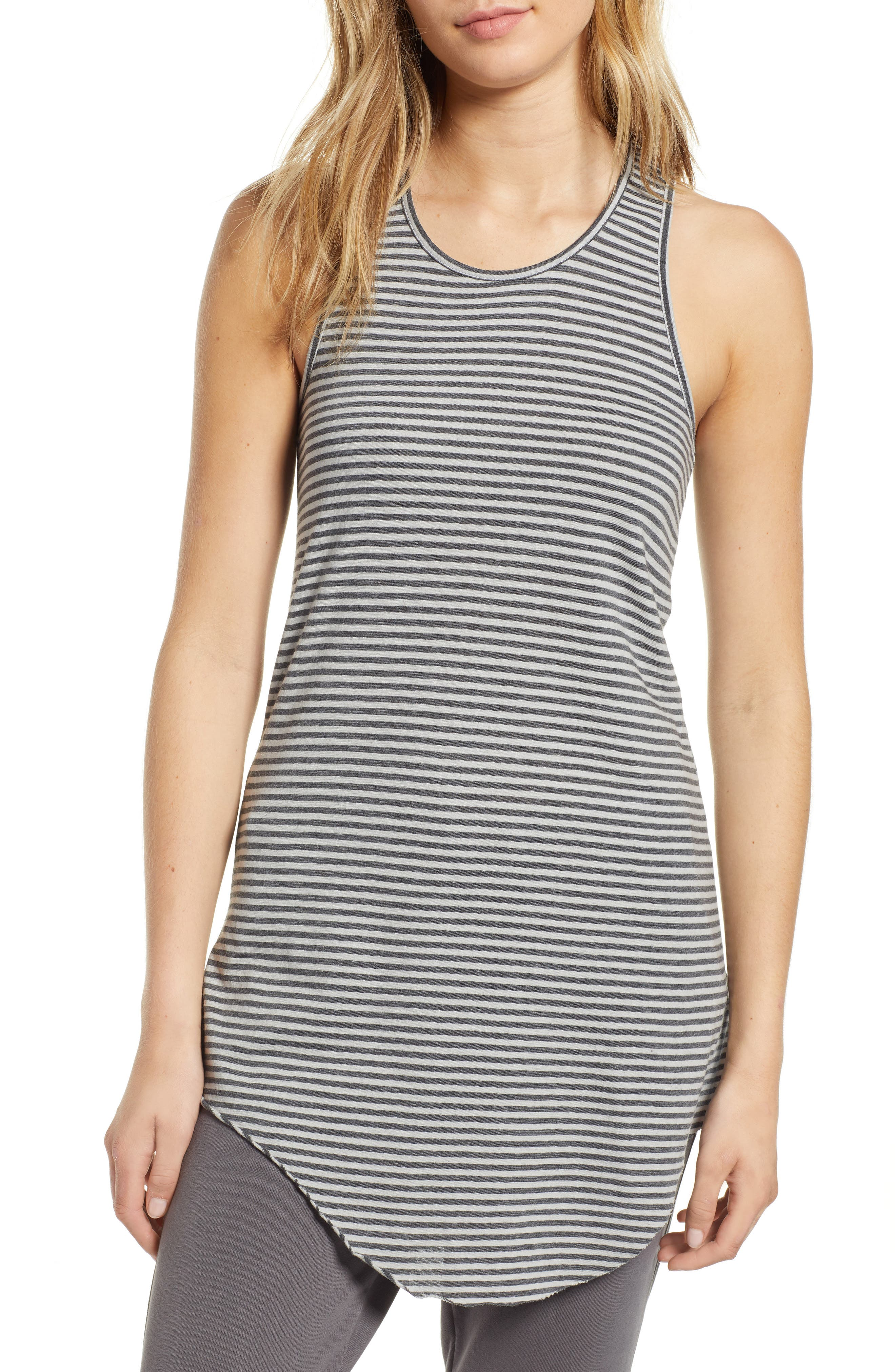 FRANK & EILEEN Tee Lab Stripe Long Layering Tank in Dime Stripe