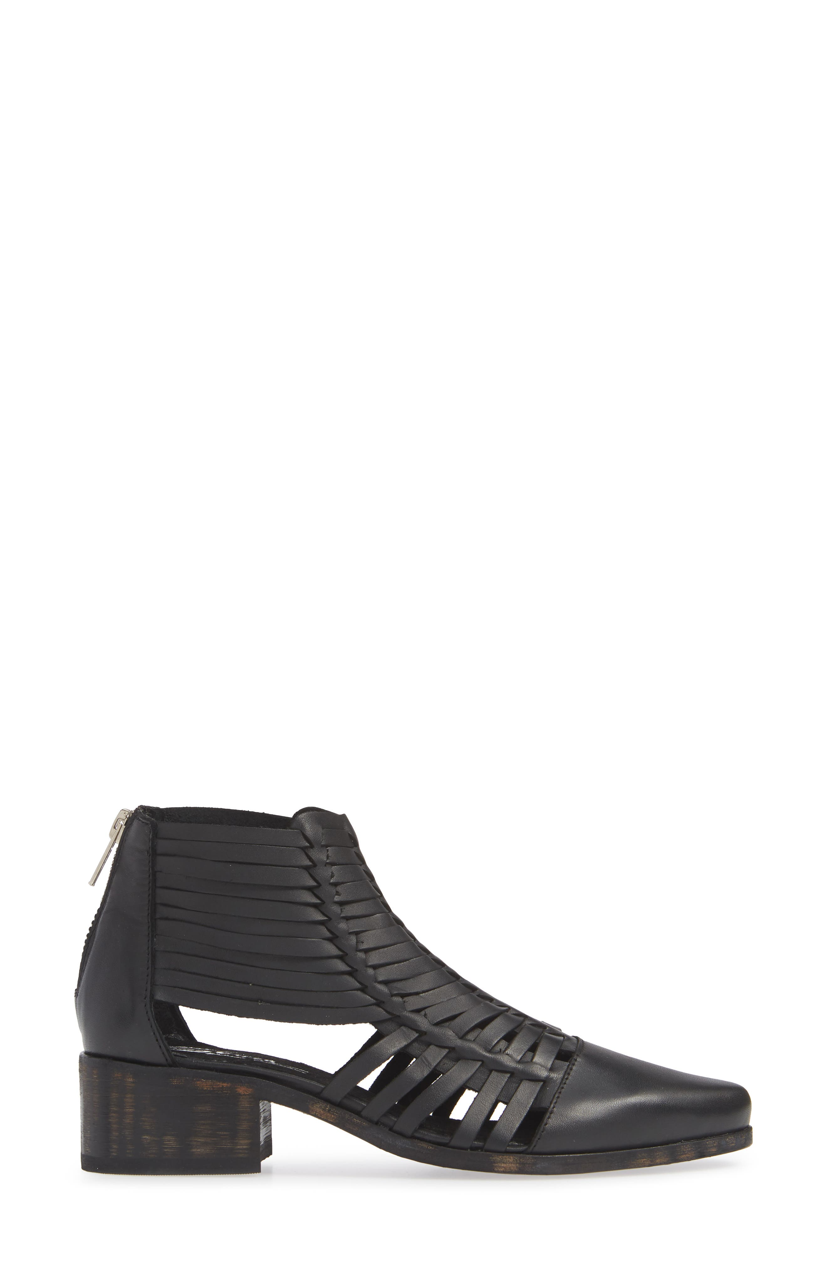 Rosabell Woven Bootie,                             Alternate thumbnail 3, color,                             BLACK LEATHER