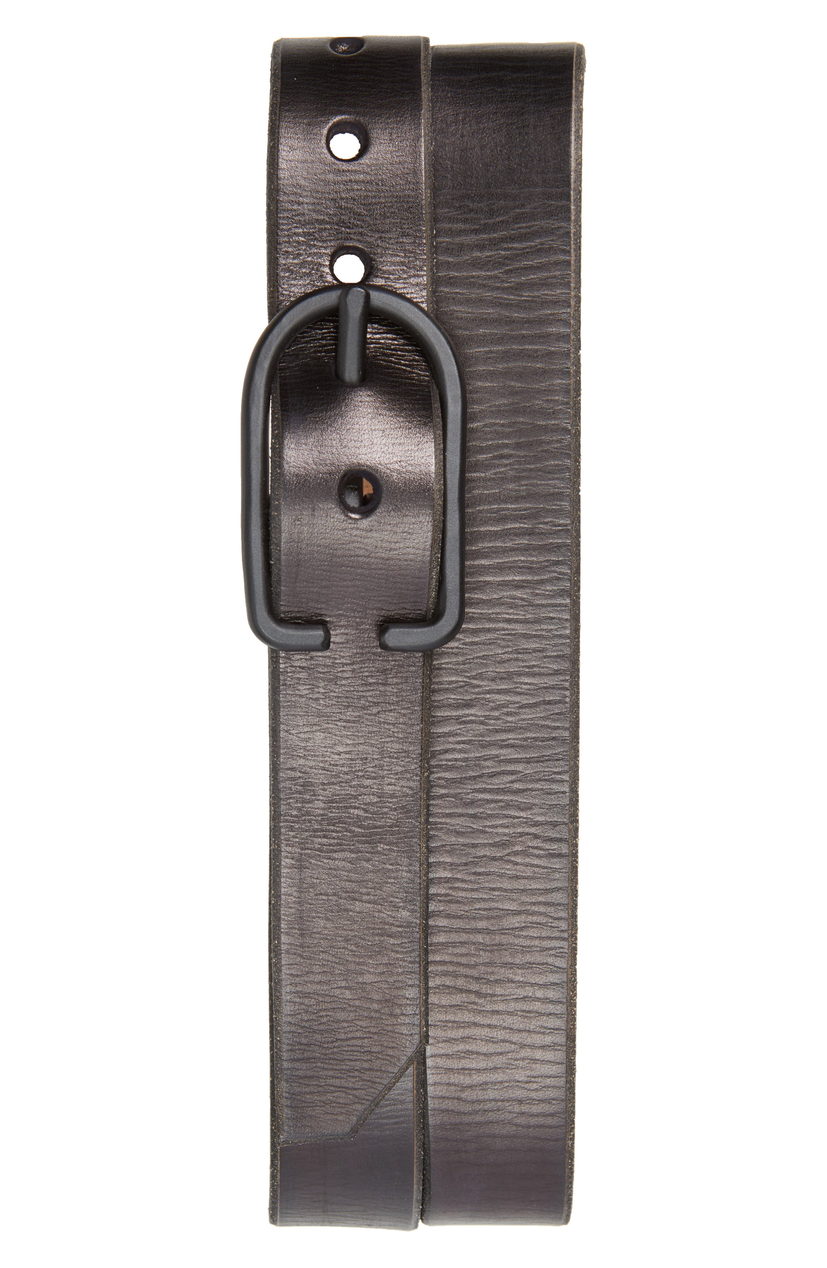 Monochromatic Leather Belt,                         Main,                         color, BLACK