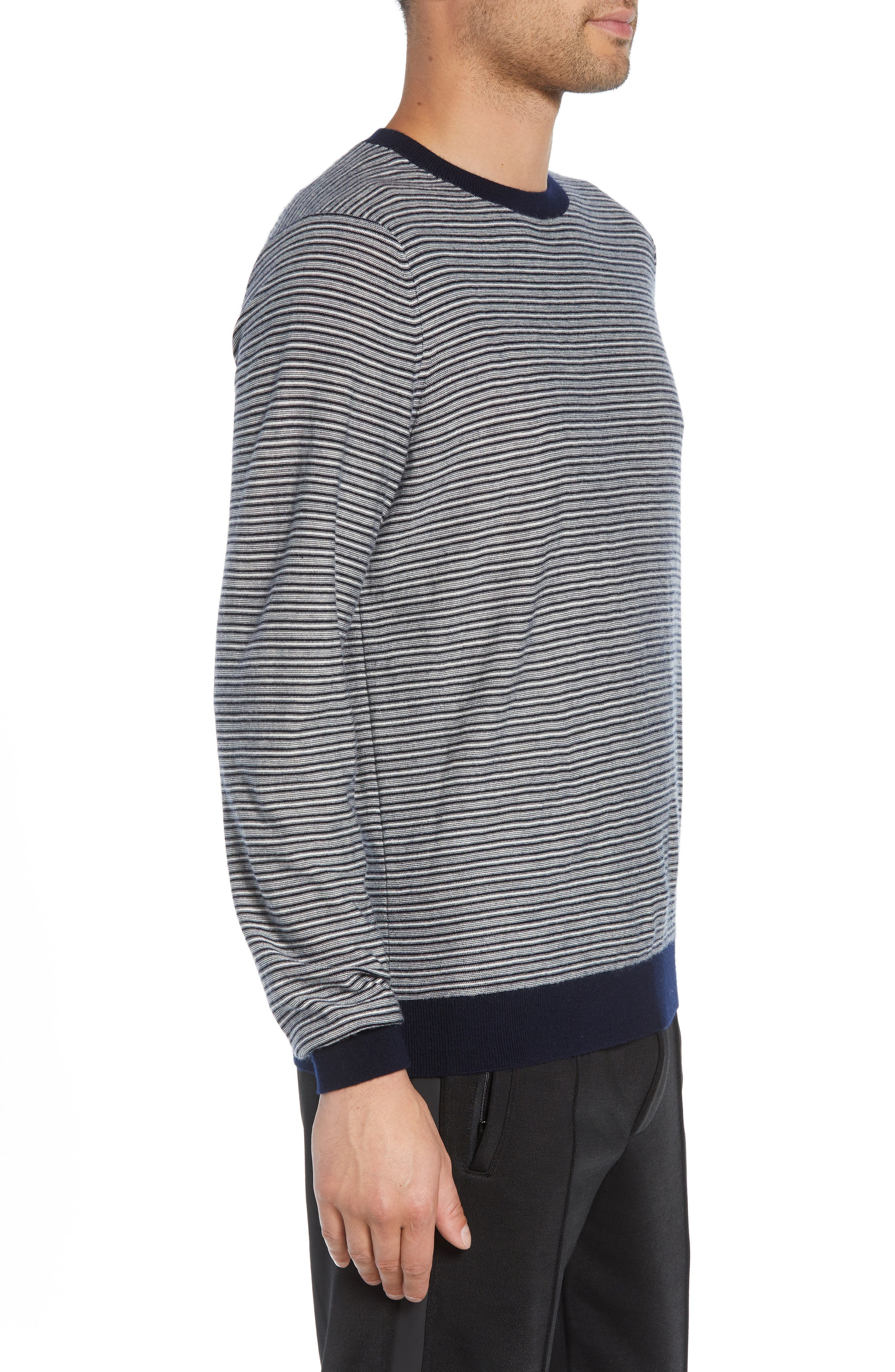 Striped Wool & Cashmere Sweater,                             Alternate thumbnail 3, color,                             400
