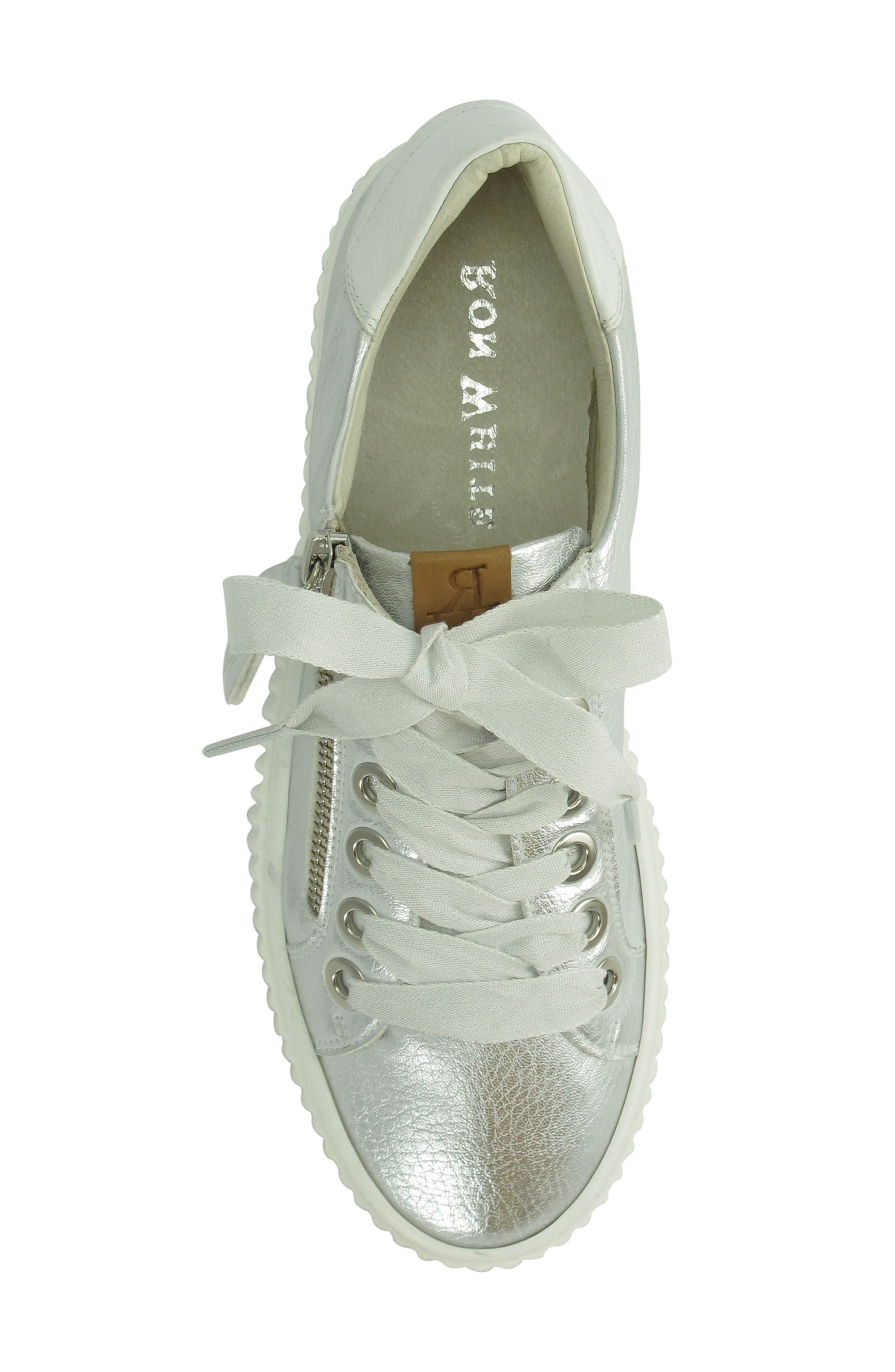 Posey Sneaker,                             Alternate thumbnail 5, color,                             SILVER LEATHER