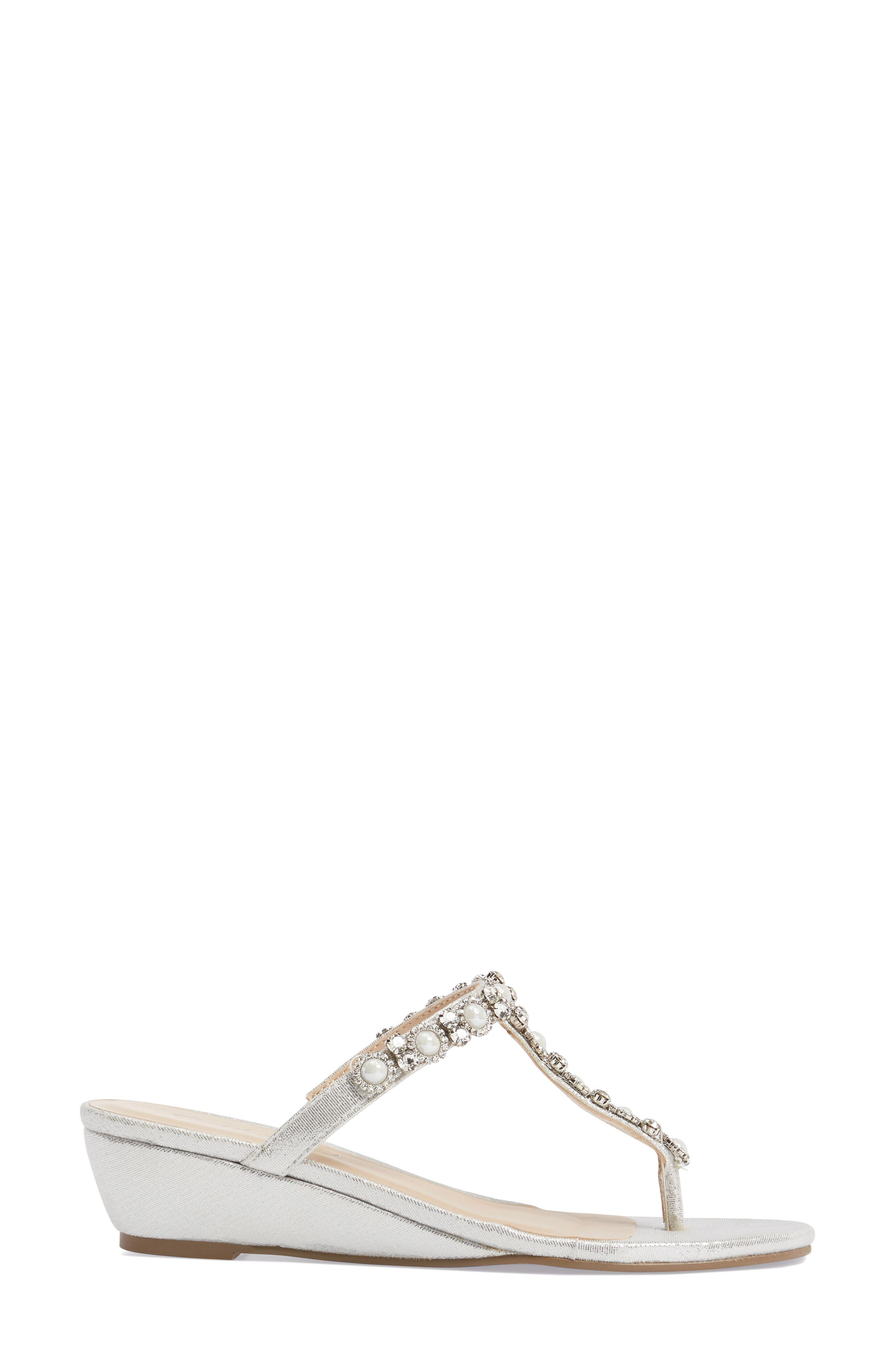 Marnie Embellished T-Strap Wedge,                             Alternate thumbnail 3, color,                             SILVER
