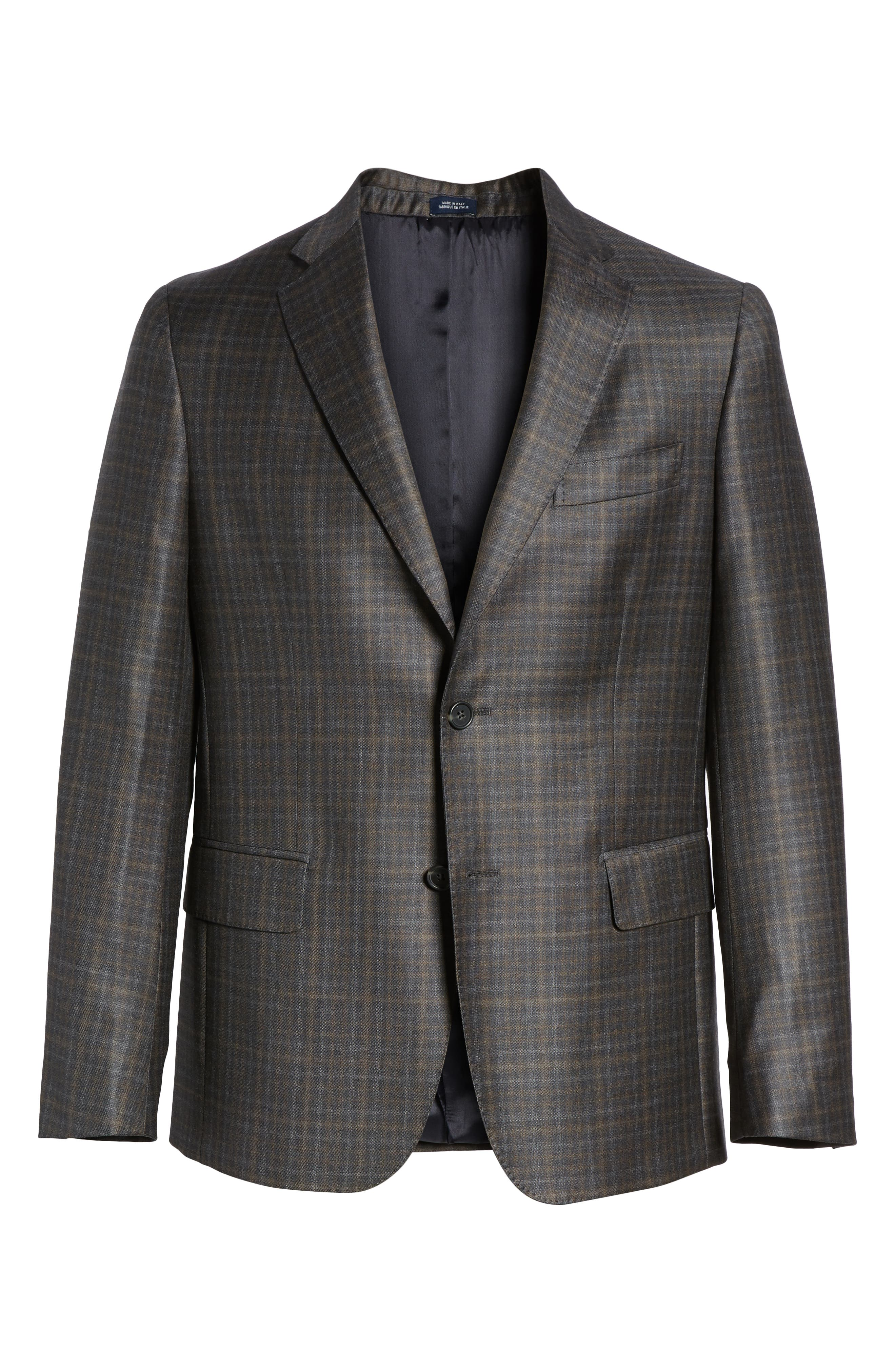 Traditional Fit Plaid Wool Sport Coat,                             Alternate thumbnail 5, color,                             CHARCOAL