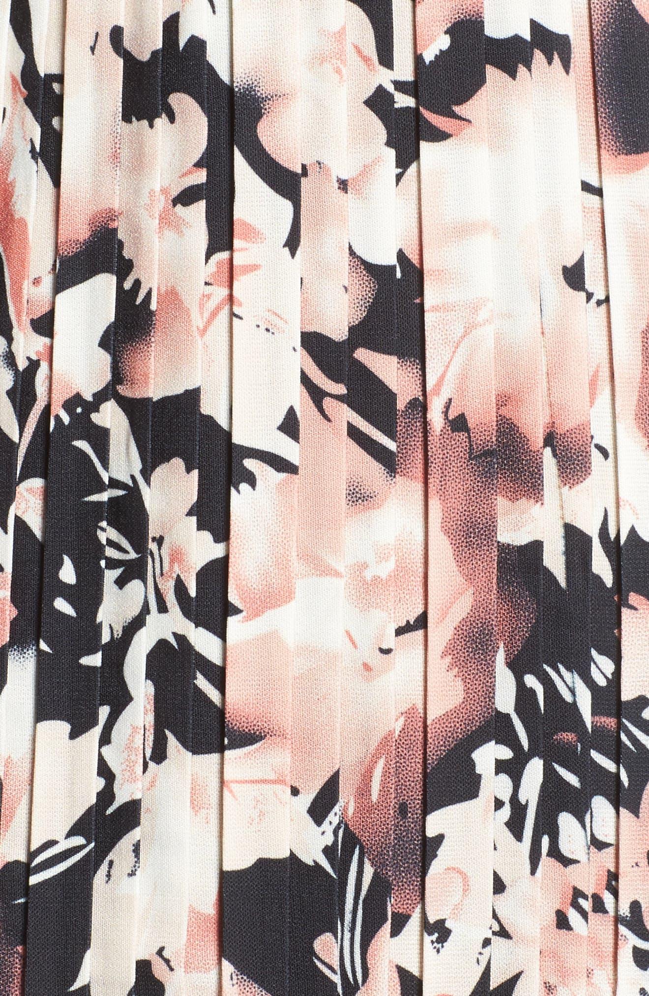 Jasmine Floral Pleated Fit & Flare Dress,                             Alternate thumbnail 5, color,                             651