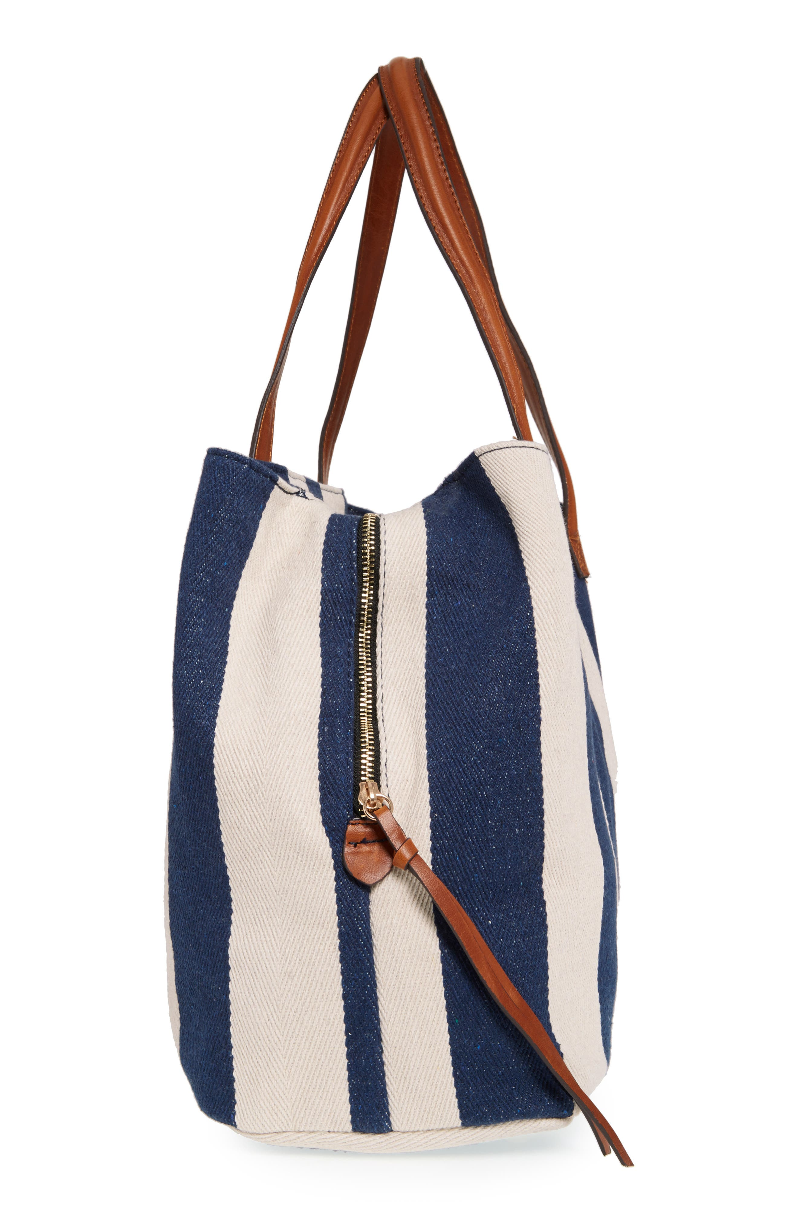 SOLE SOCIETY,                             'Oversize Millie' Stripe Print Tote,                             Alternate thumbnail 5, color,                             NAVY CREAM
