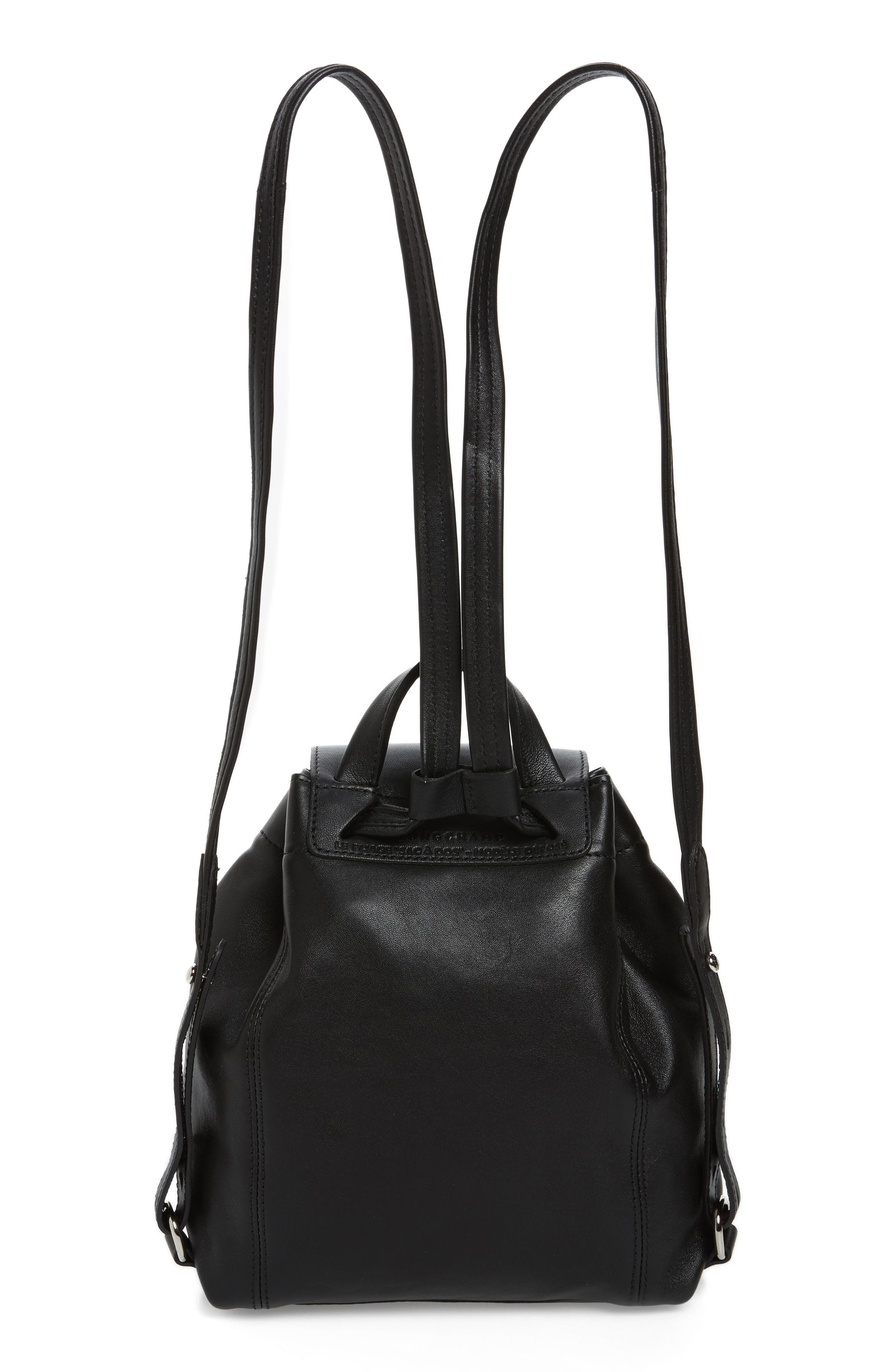Extra Small Le Pliage Cuir Backpack,                             Alternate thumbnail 3, color,                             BLACK