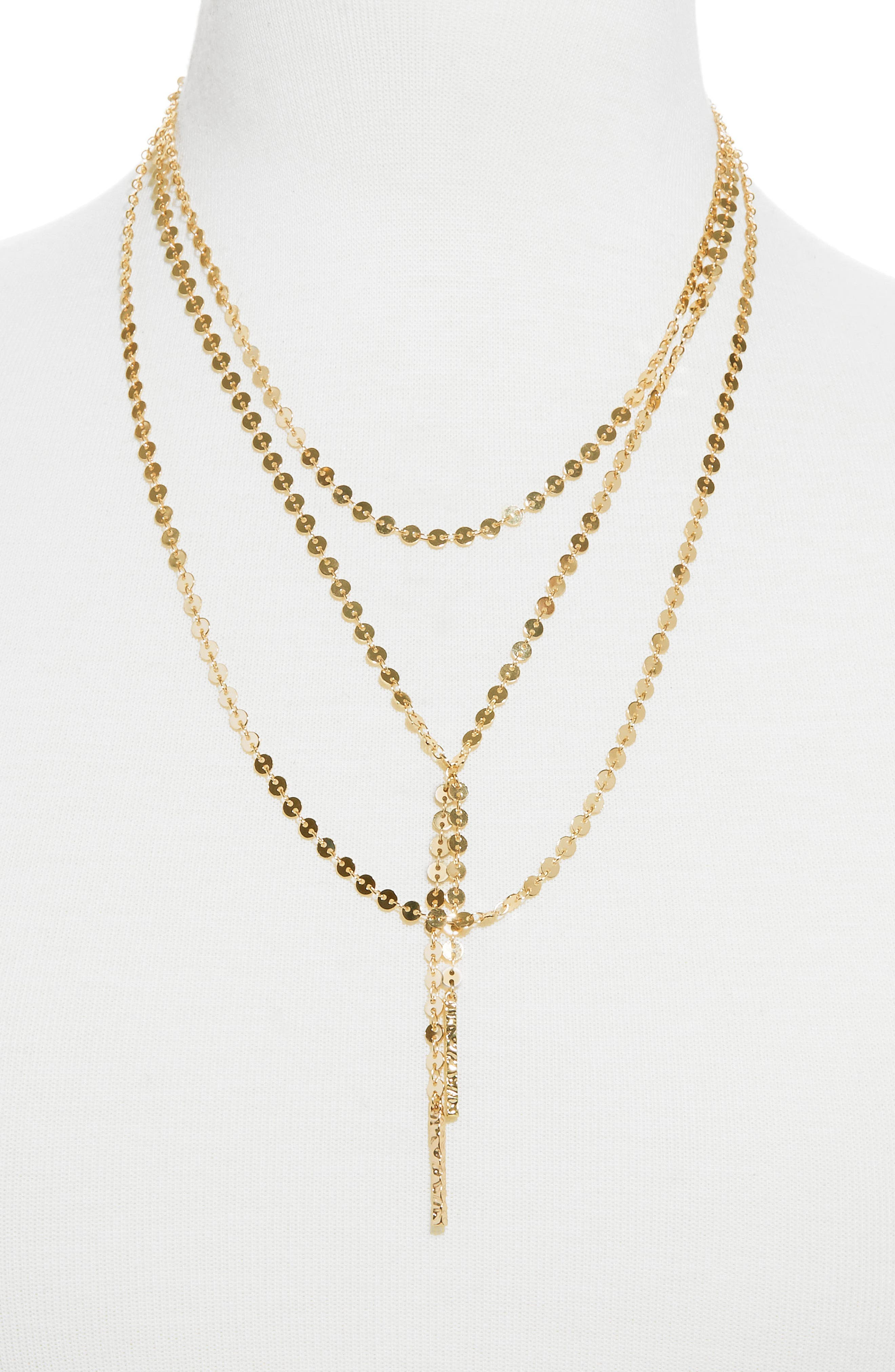 Amber Layered Chain Y-Necklace,                         Main,                         color, GOLD