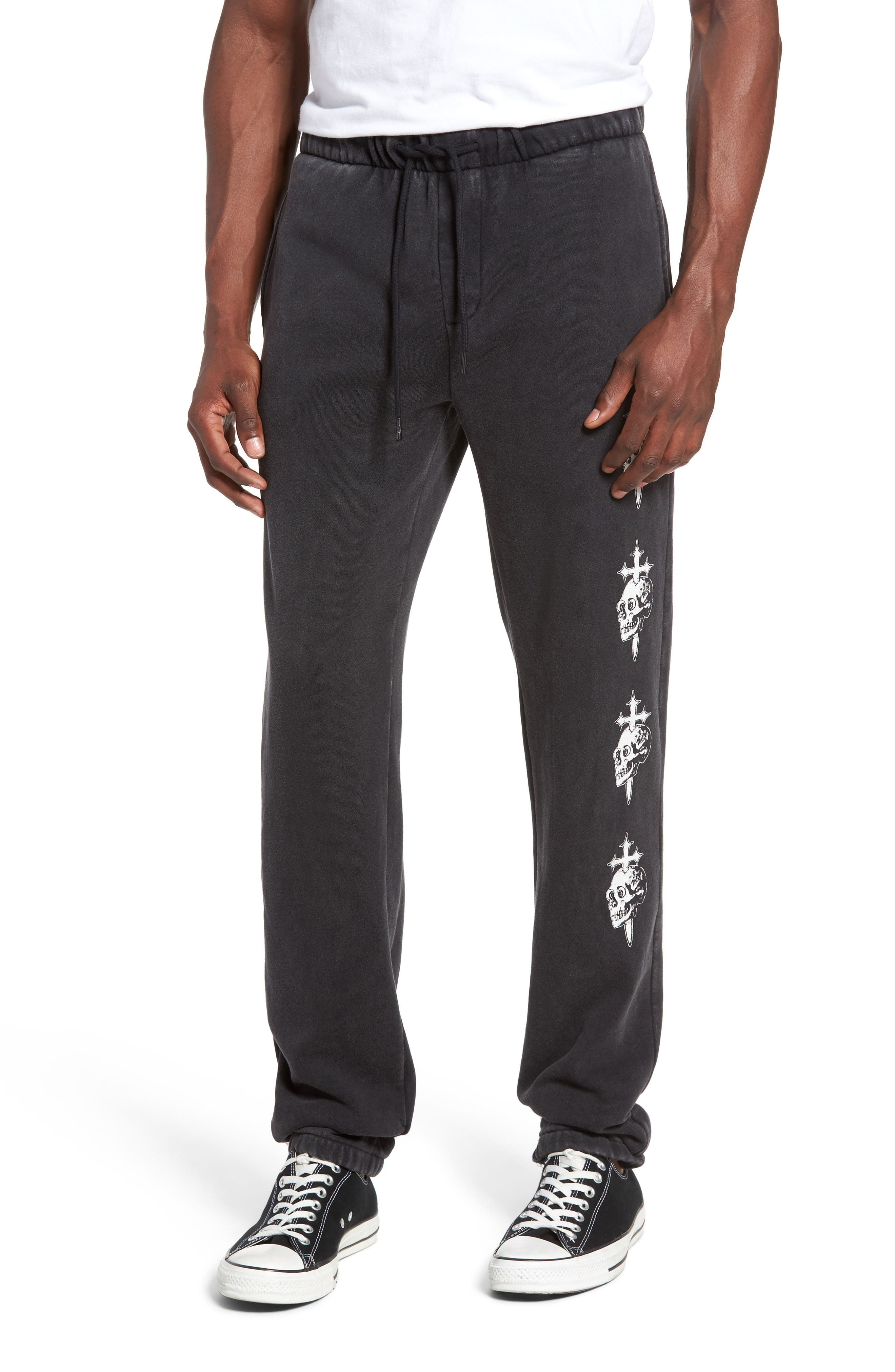 Skull Cross Print Sweatpants,                             Main thumbnail 1, color,                             002