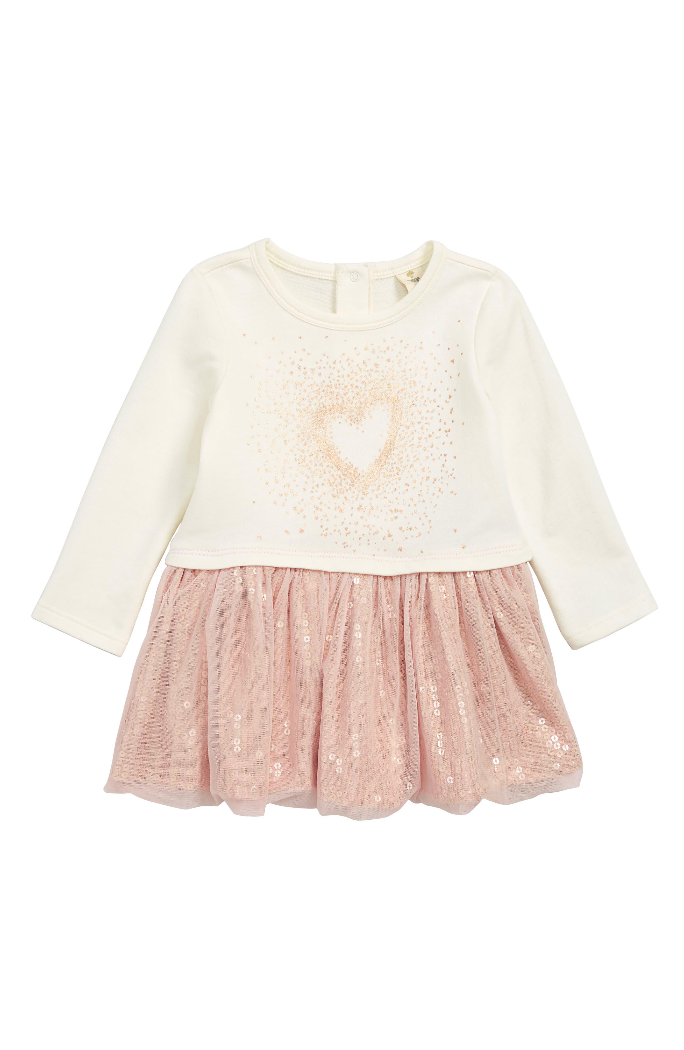 TUCKER + TATE Sequin Tutu Dress, Main, color, IVORY EGRET- PINK HEART