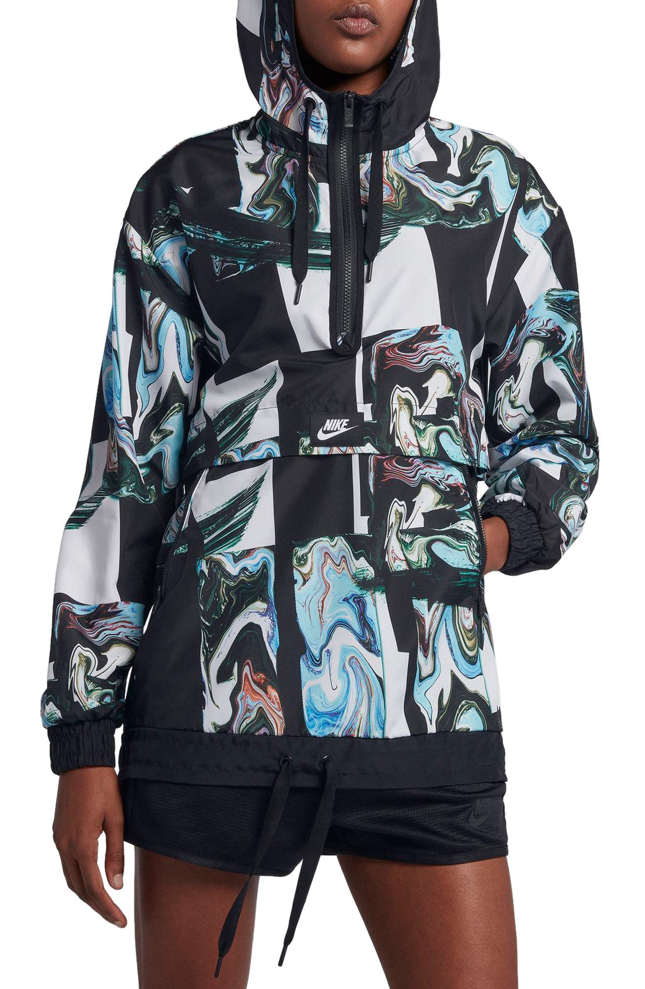 Sportswear Women's Marble Print Hooded Jacket,                             Alternate thumbnail 3, color,
