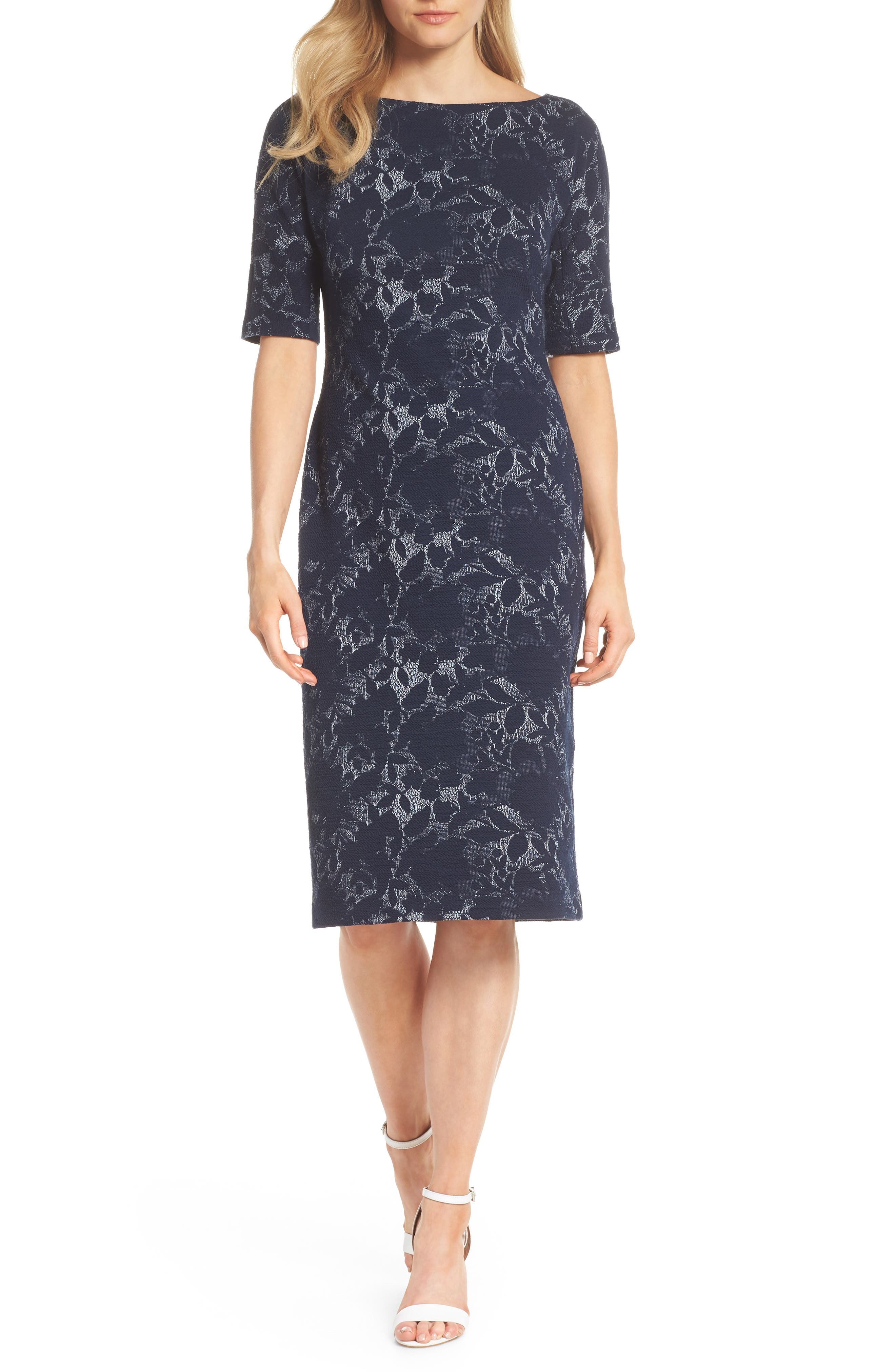 MAGGY LONDON Jacquard Pencil Dress, Main, color, 462