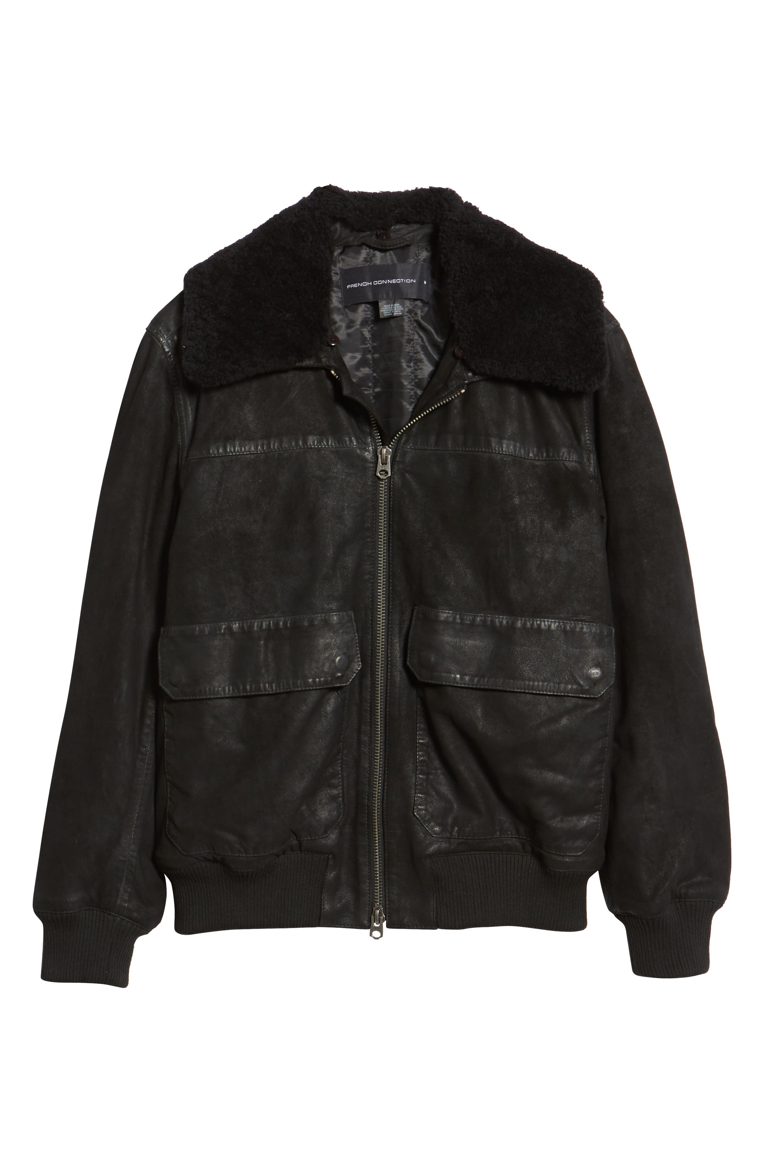 Washed Sheepskin Leather Jacket with Faux Shearling Trim,                             Alternate thumbnail 5, color,                             BLACK