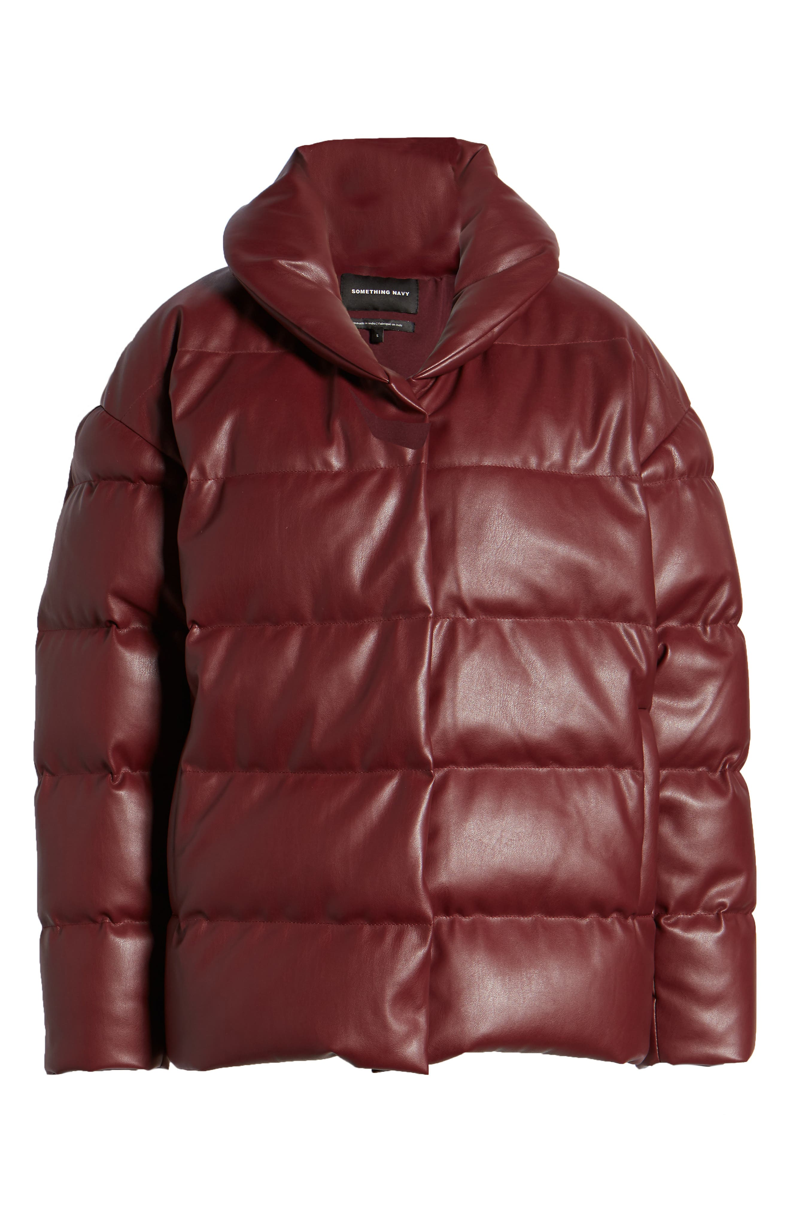 SOMETHING NAVY,                             Faux Leather Puffer Coat,                             Alternate thumbnail 6, color,                             601