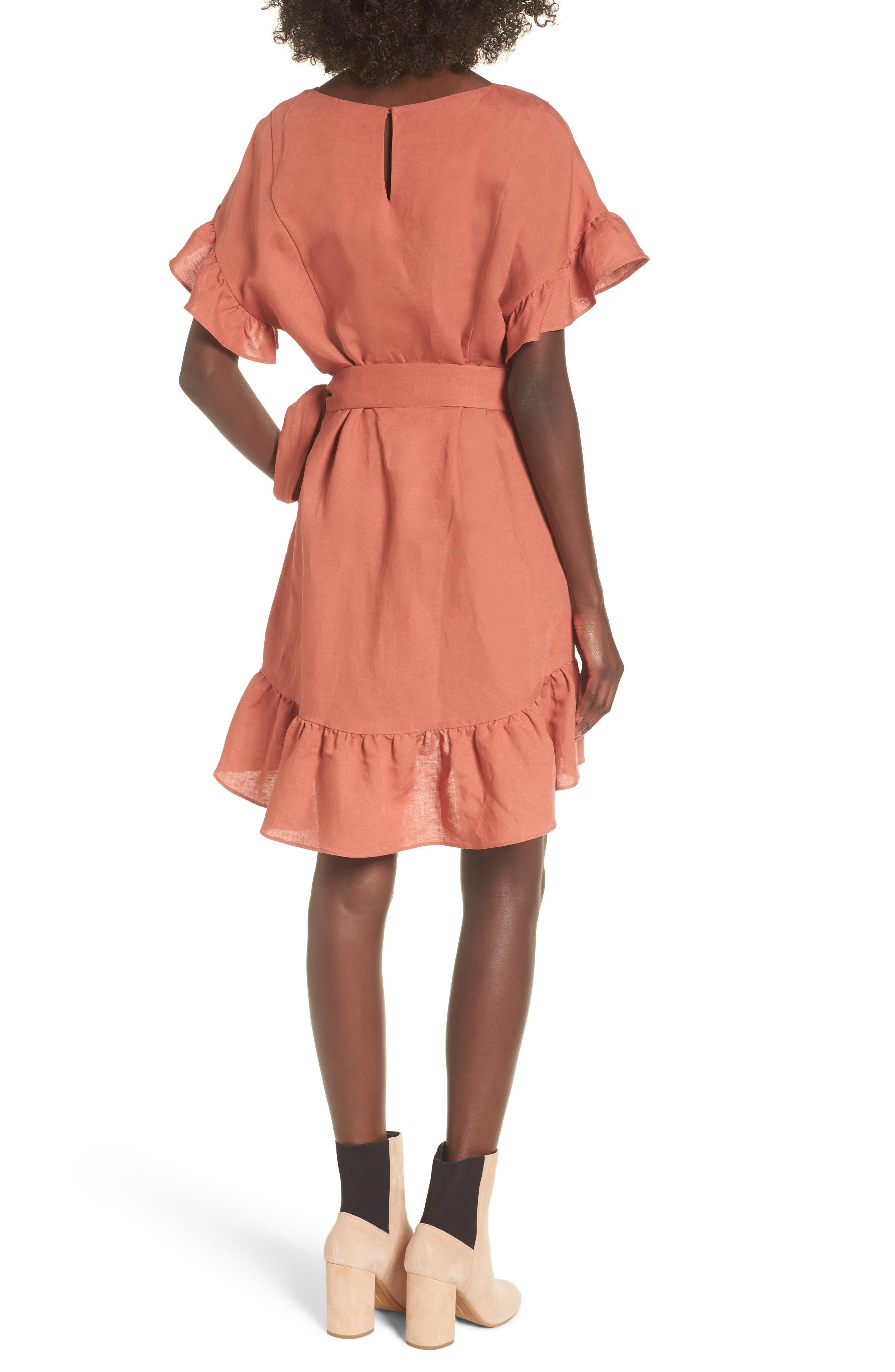 Ruffle Linen Blend Wrap Dress,                             Alternate thumbnail 4, color,