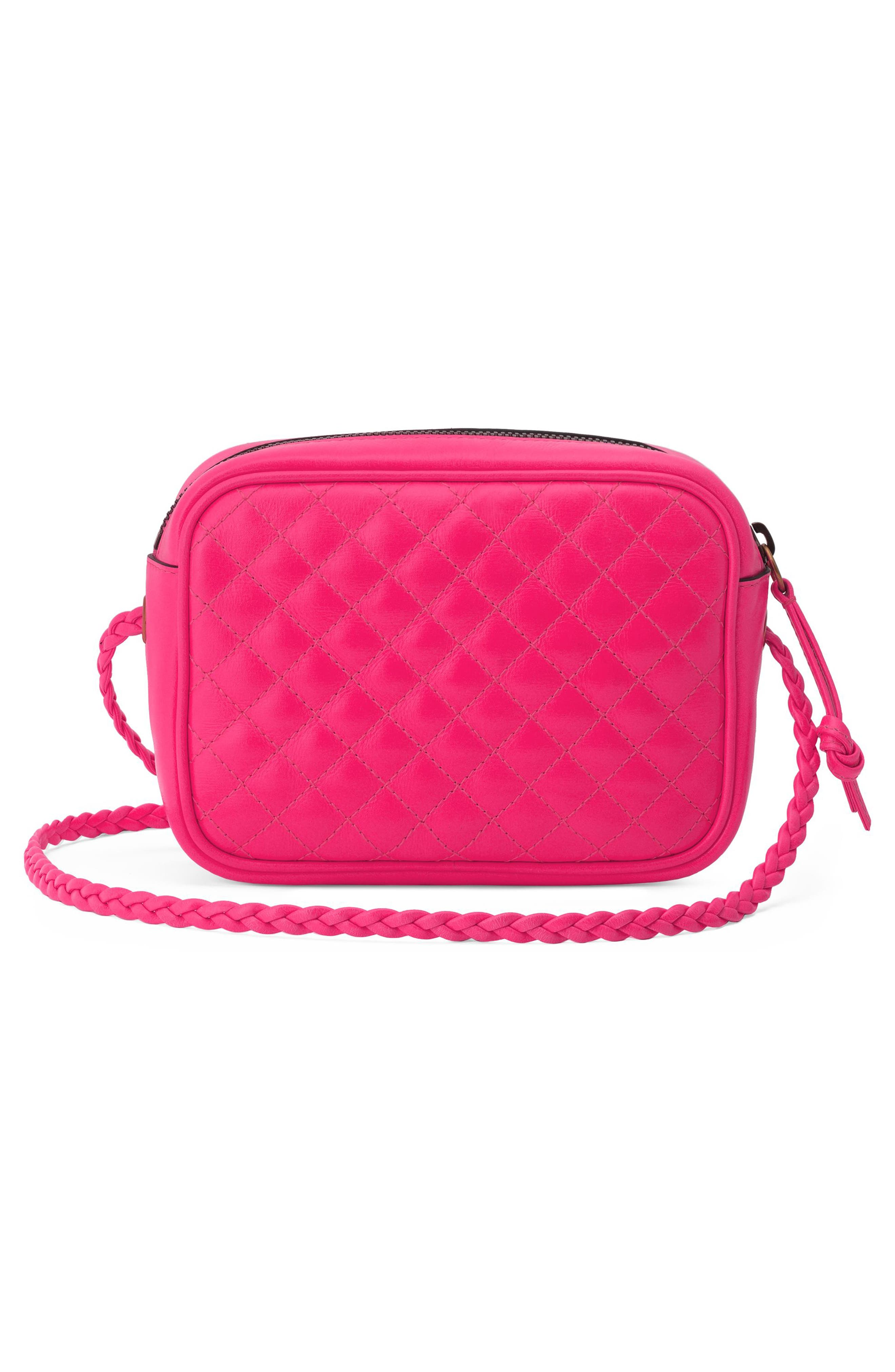 Small Quilted Leather Camera Bag,                             Alternate thumbnail 2, color,                             FUXIA FLOURESCENT