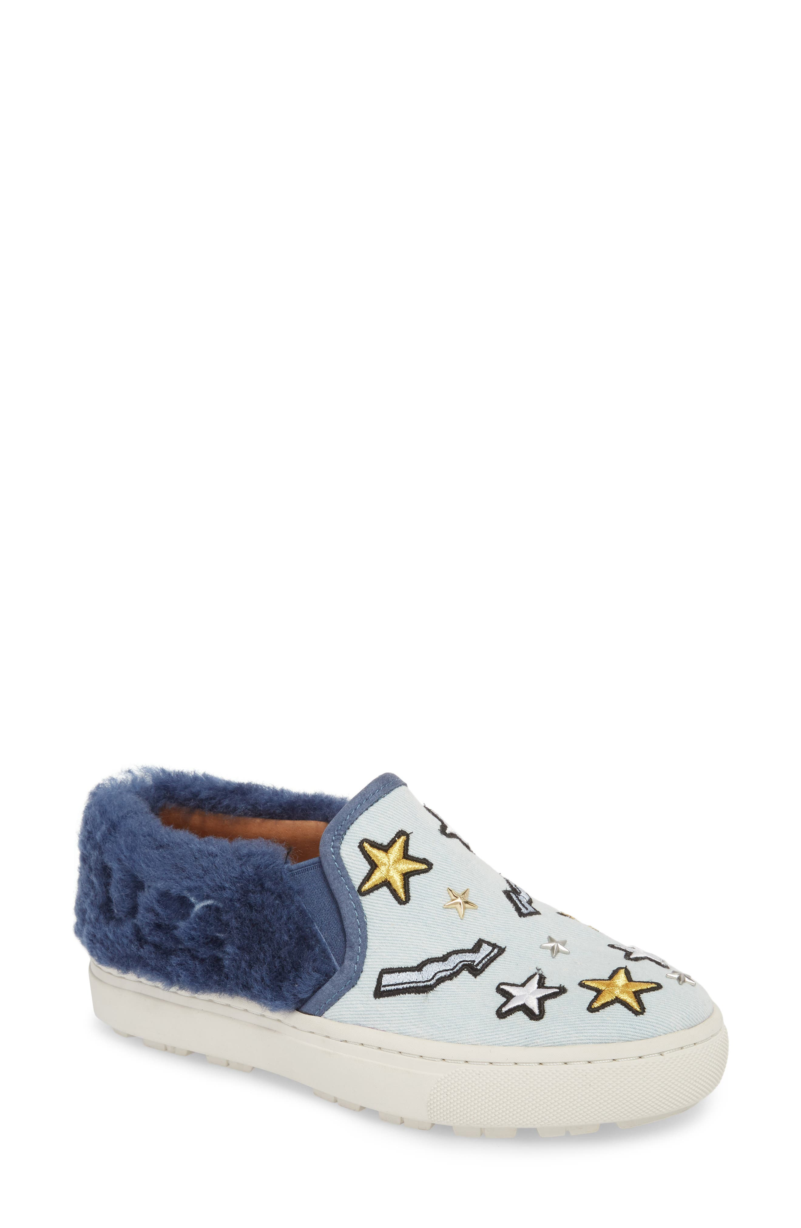 Patch It Genuine Shearling Trim Slip-On Sneaker,                         Main,                         color, BLEACH DENIM