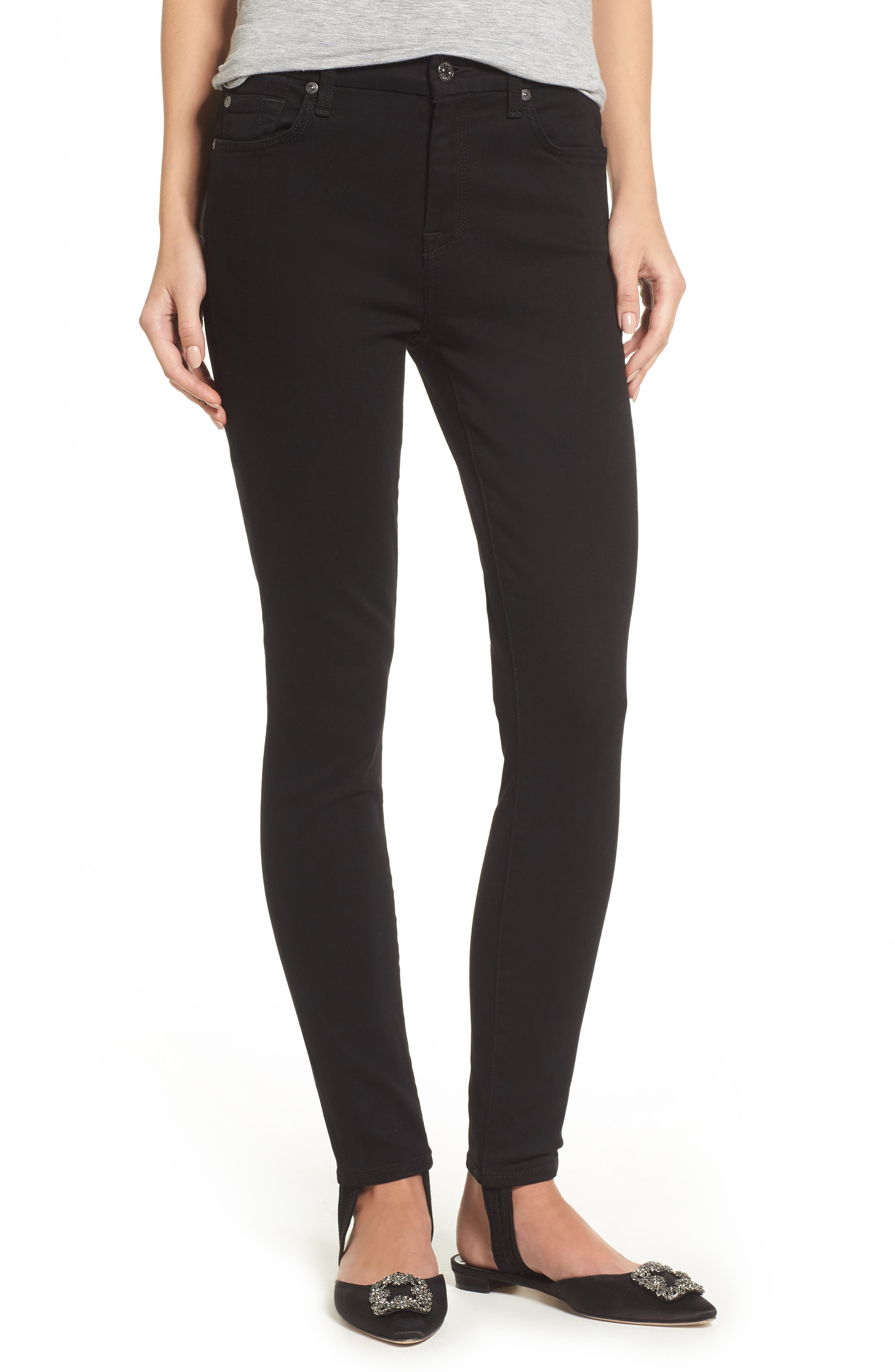 b(air) High Waist Ankle Skinny Stirrup Jeans,                             Main thumbnail 1, color,                             004