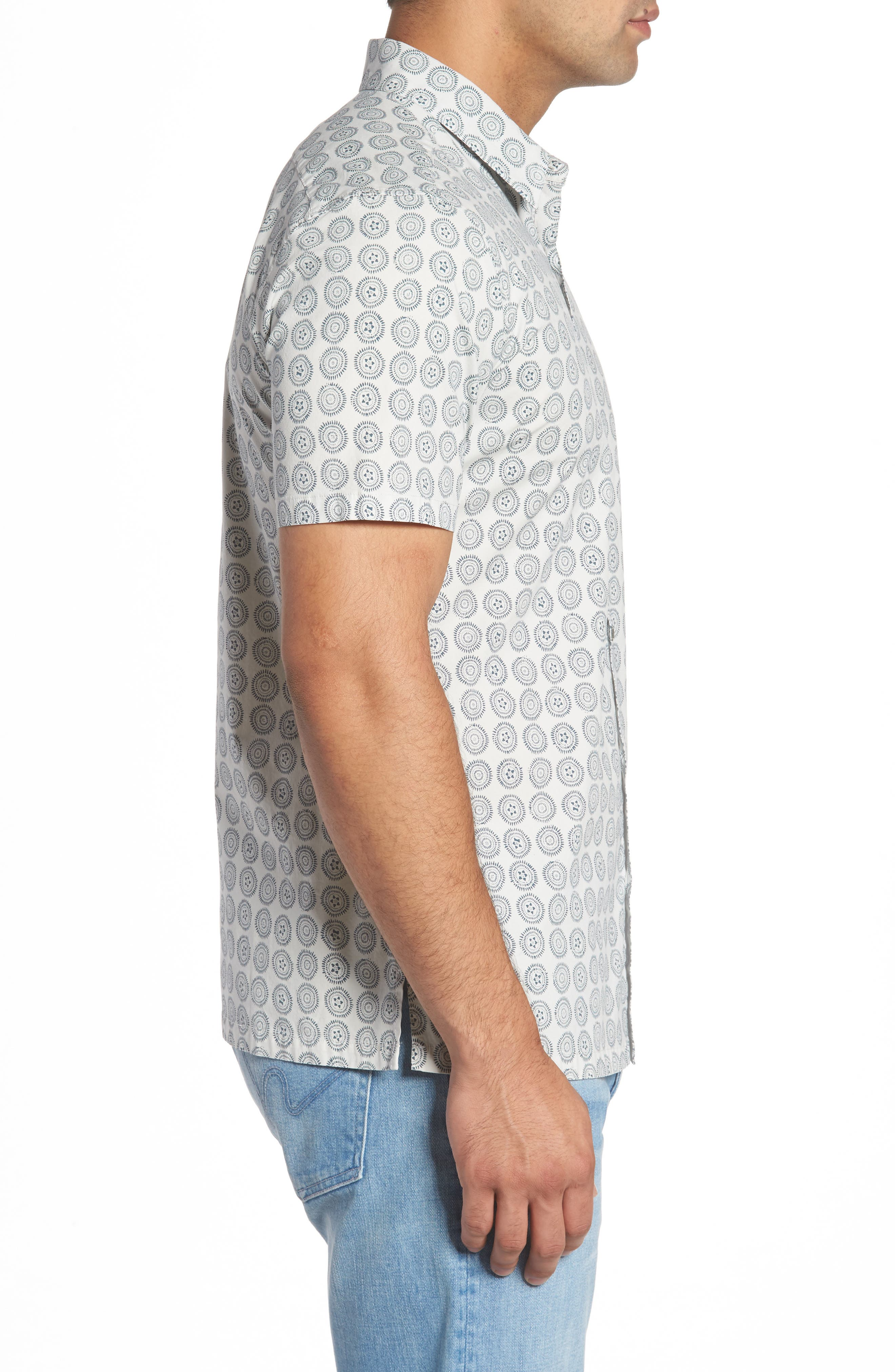 Sea Crest Slim Fit Print Camp Shirt,                             Alternate thumbnail 6, color,