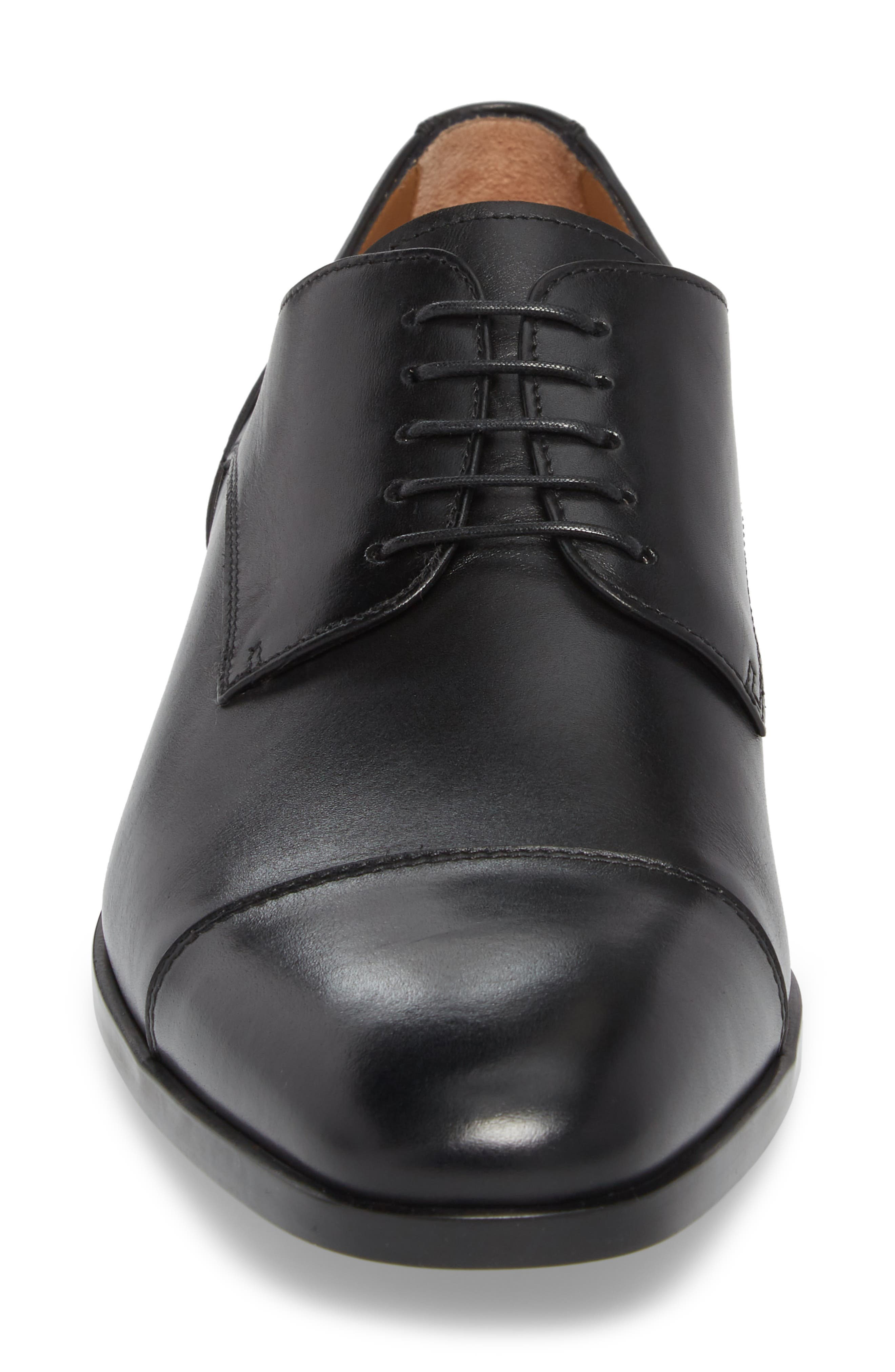 Hugo Boss Portland Cap Toe Derby,                             Alternate thumbnail 4, color,                             001