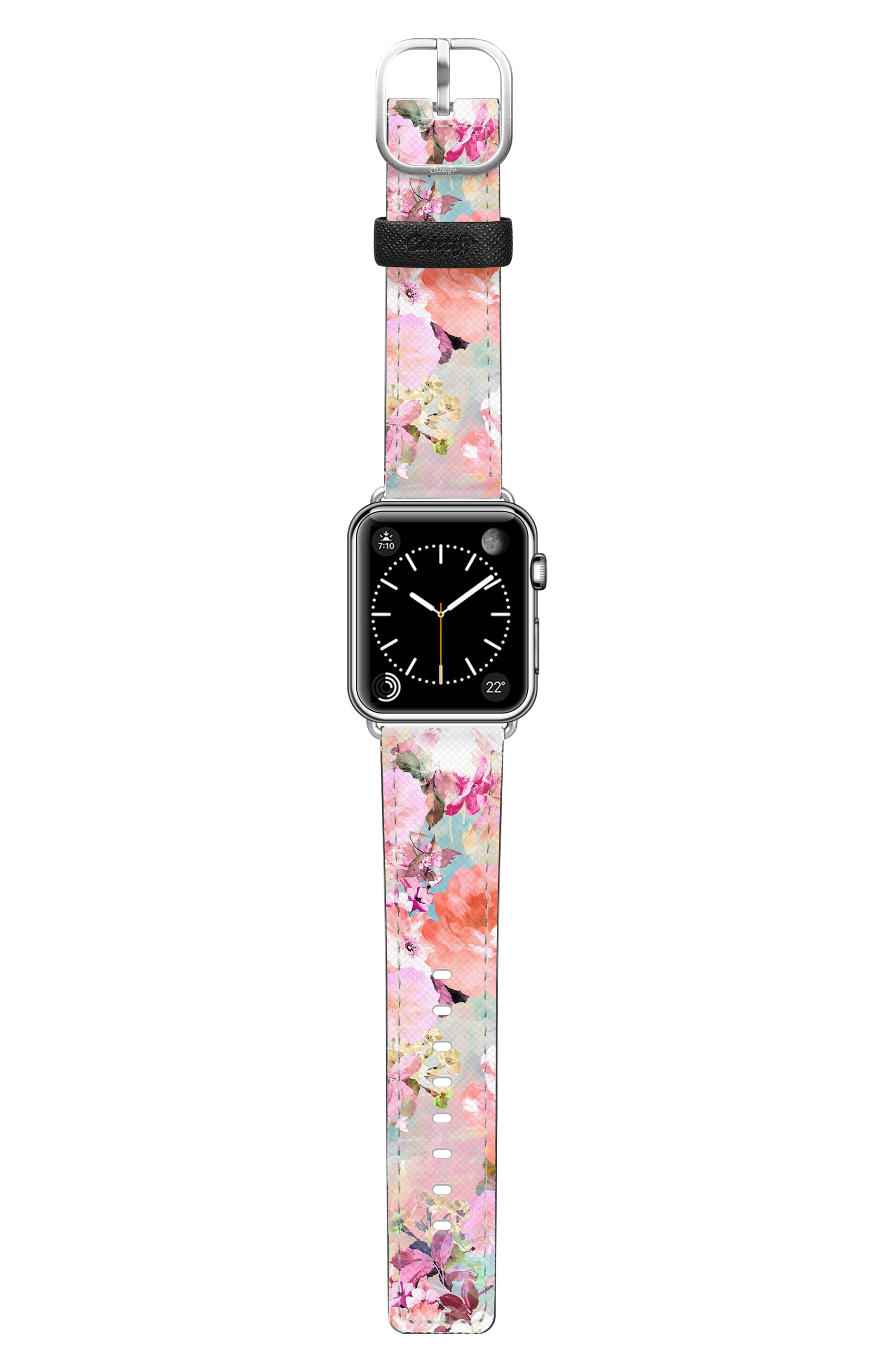 Romantic Watercolor Flowers Saffiano Faux Leather Apple Watch Strap,                             Alternate thumbnail 3, color,                             PINK/ SILVER