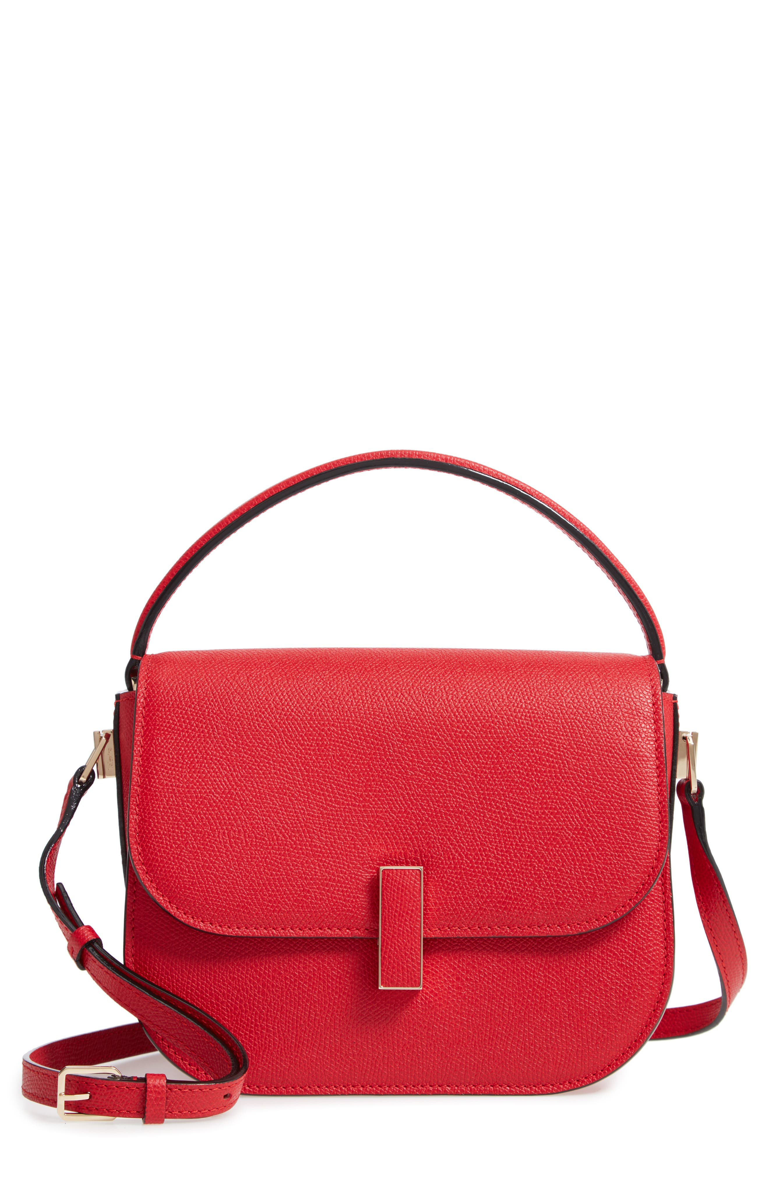 Iside Leather Top Handle Bag, Main, color, RED