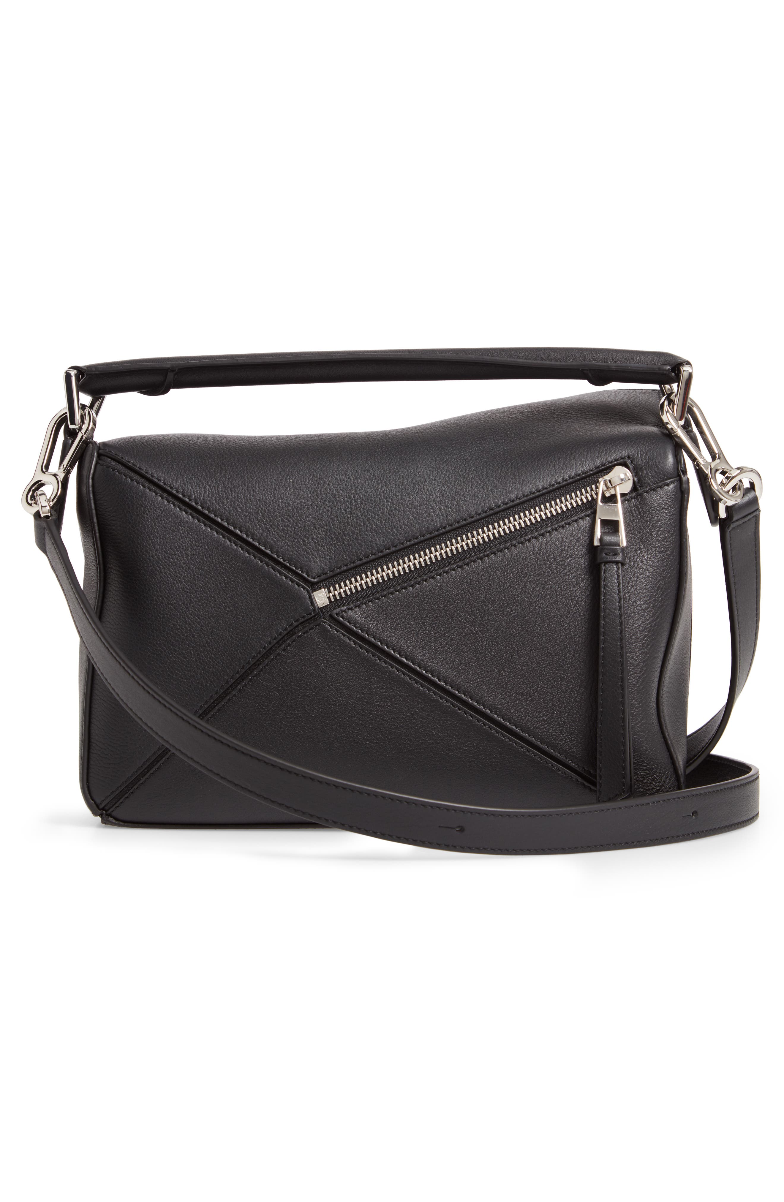 Small Puzzle Shoulder Bag,                             Alternate thumbnail 3, color,                             BLACK