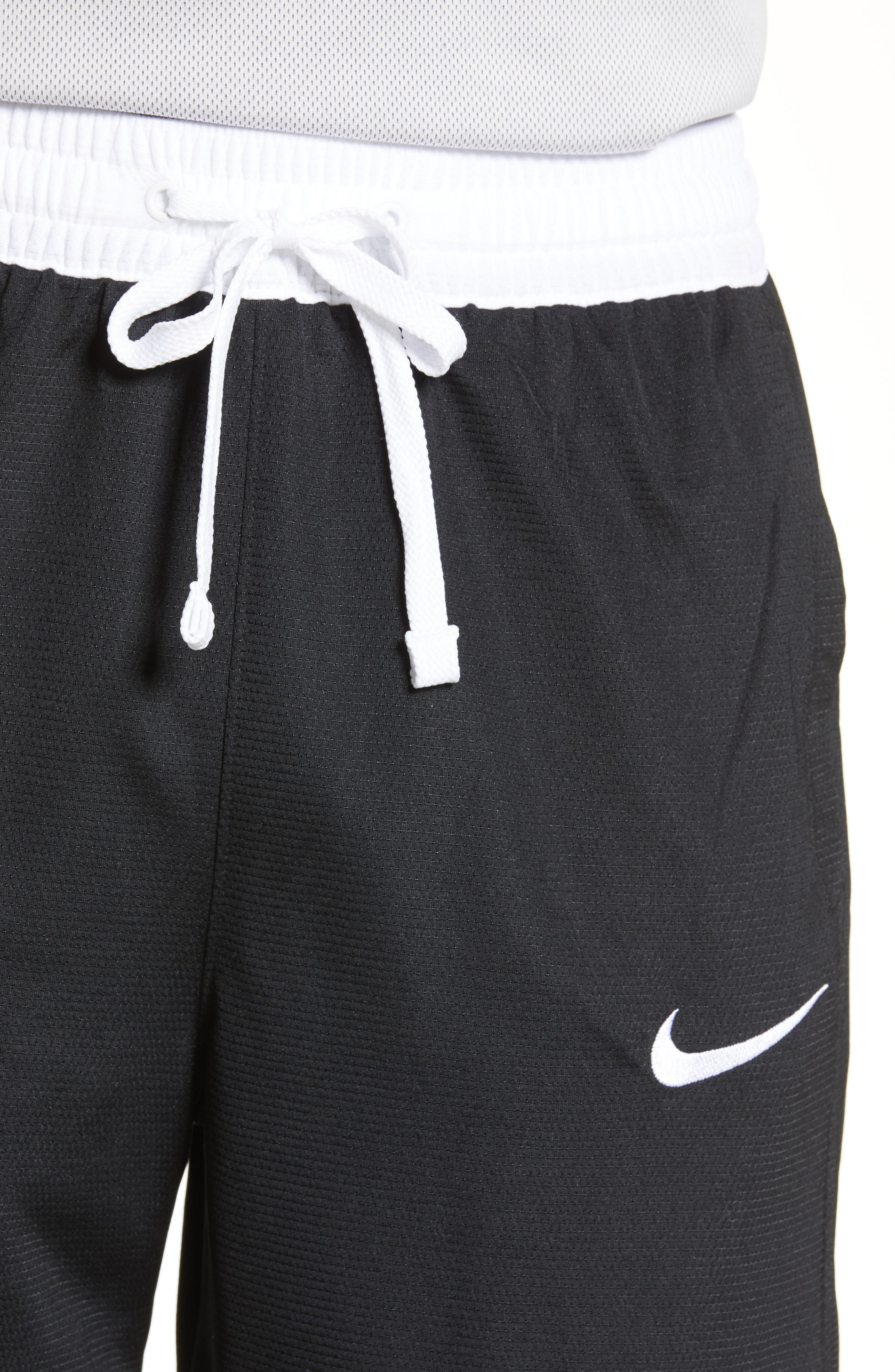 NIKE,                             Dry Elite Stripe Basketball Shorts,                             Alternate thumbnail 4, color,                             BLACK/ WHITE/ WHITE/ WHITE
