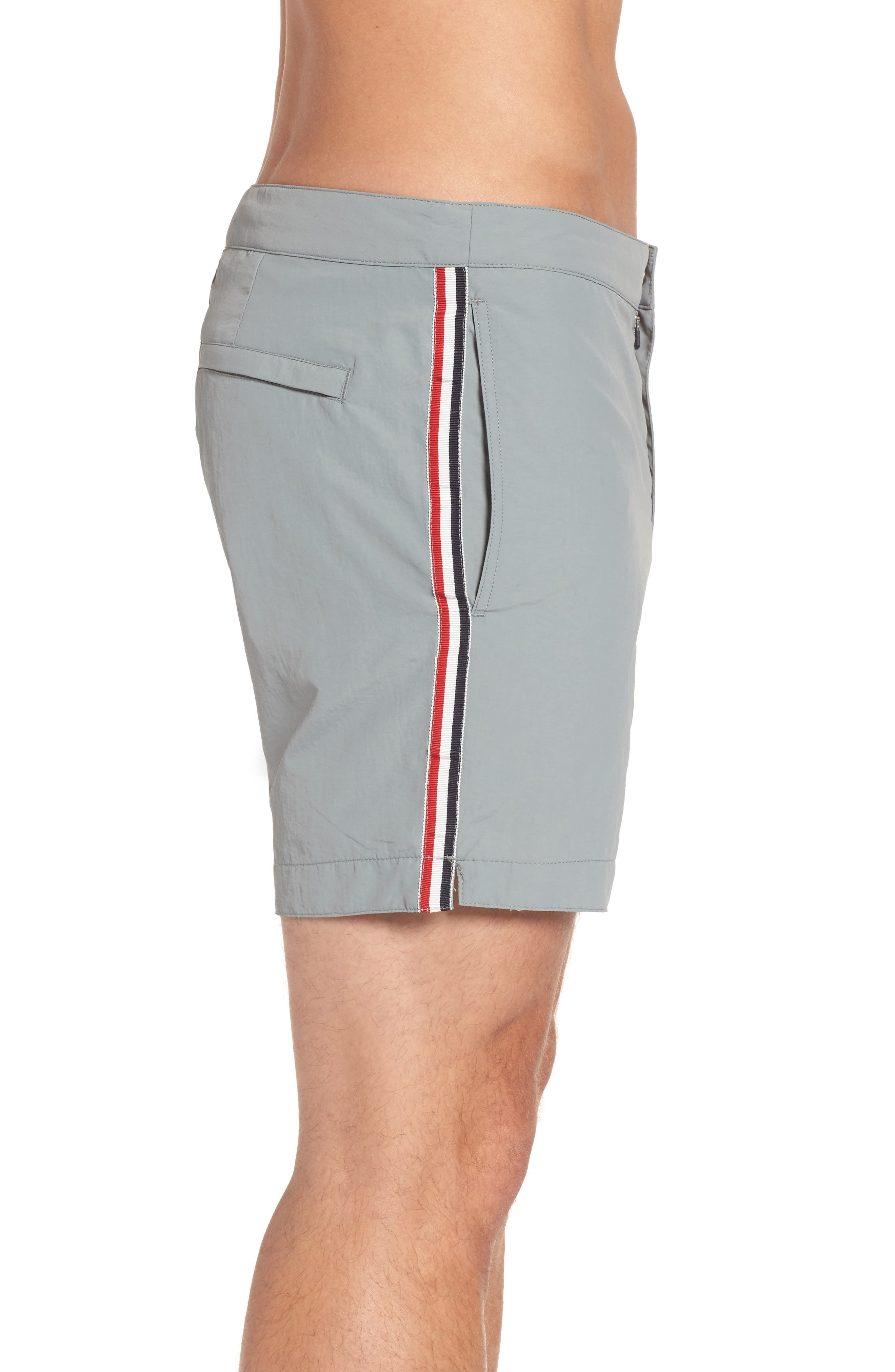Aruba Tailored Fit French Stripe Swim Trunks,                             Alternate thumbnail 5, color,