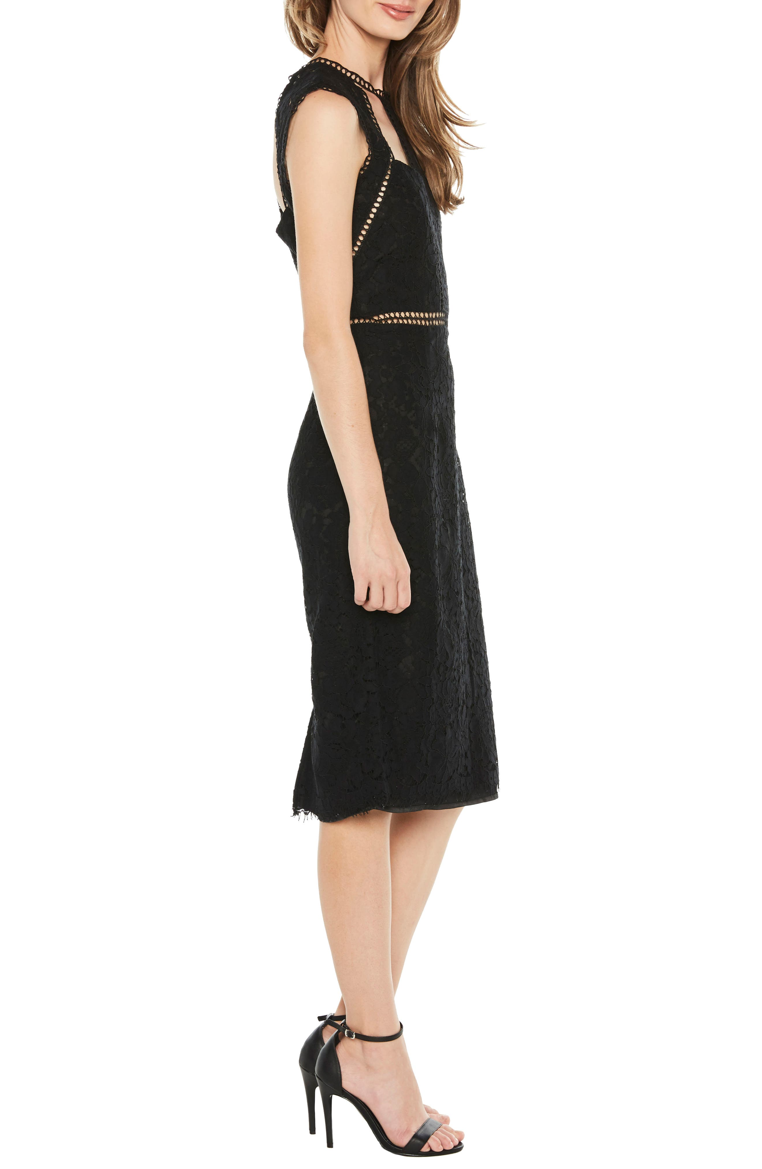 Splice Panel Lace Cocktail Dress,                             Alternate thumbnail 3, color,                             BLACK