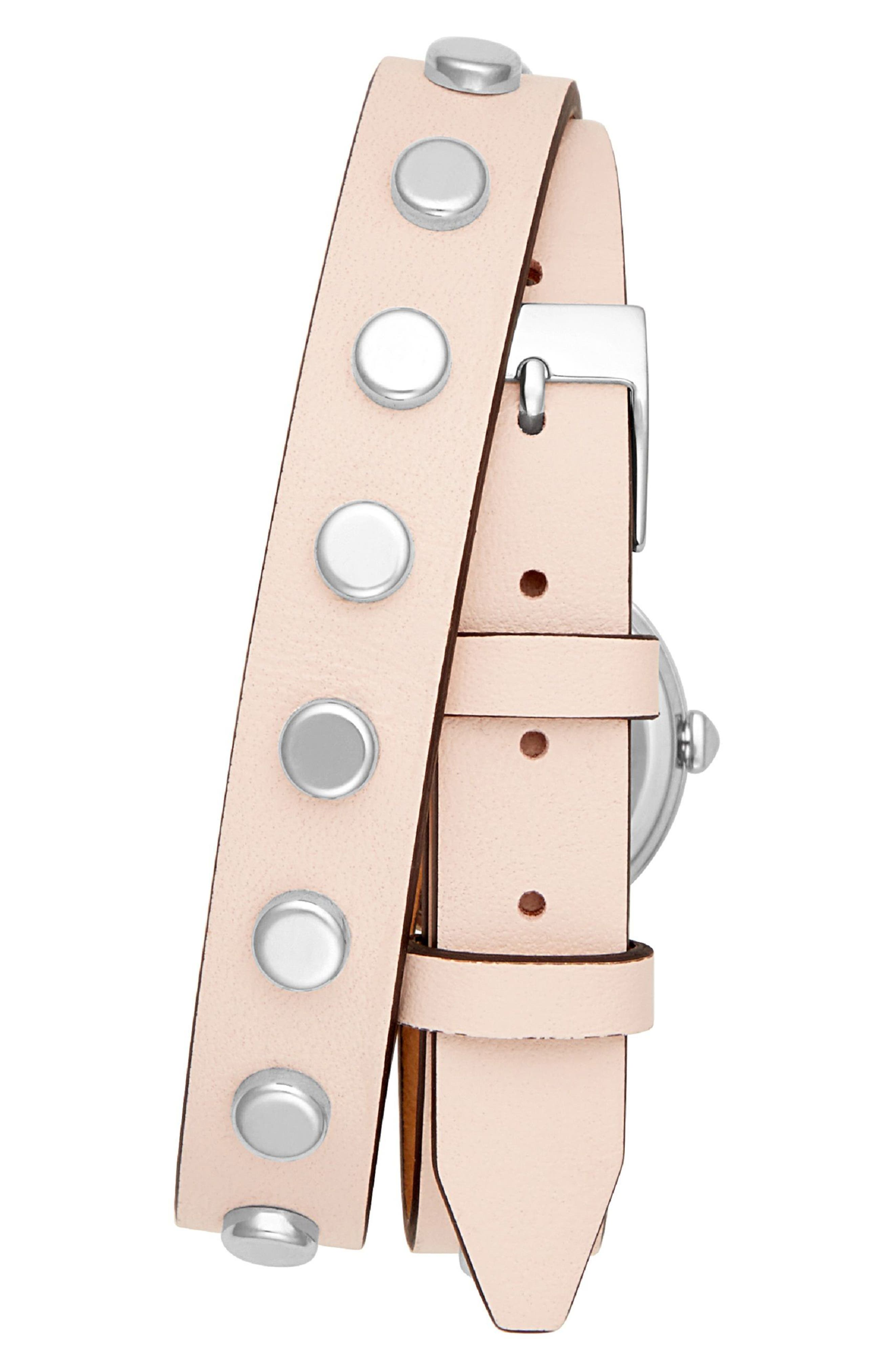 BFFLS Double Wrap Leather Strap Watch, 25mm,                             Alternate thumbnail 2, color,                             BLUSH/ SILVER