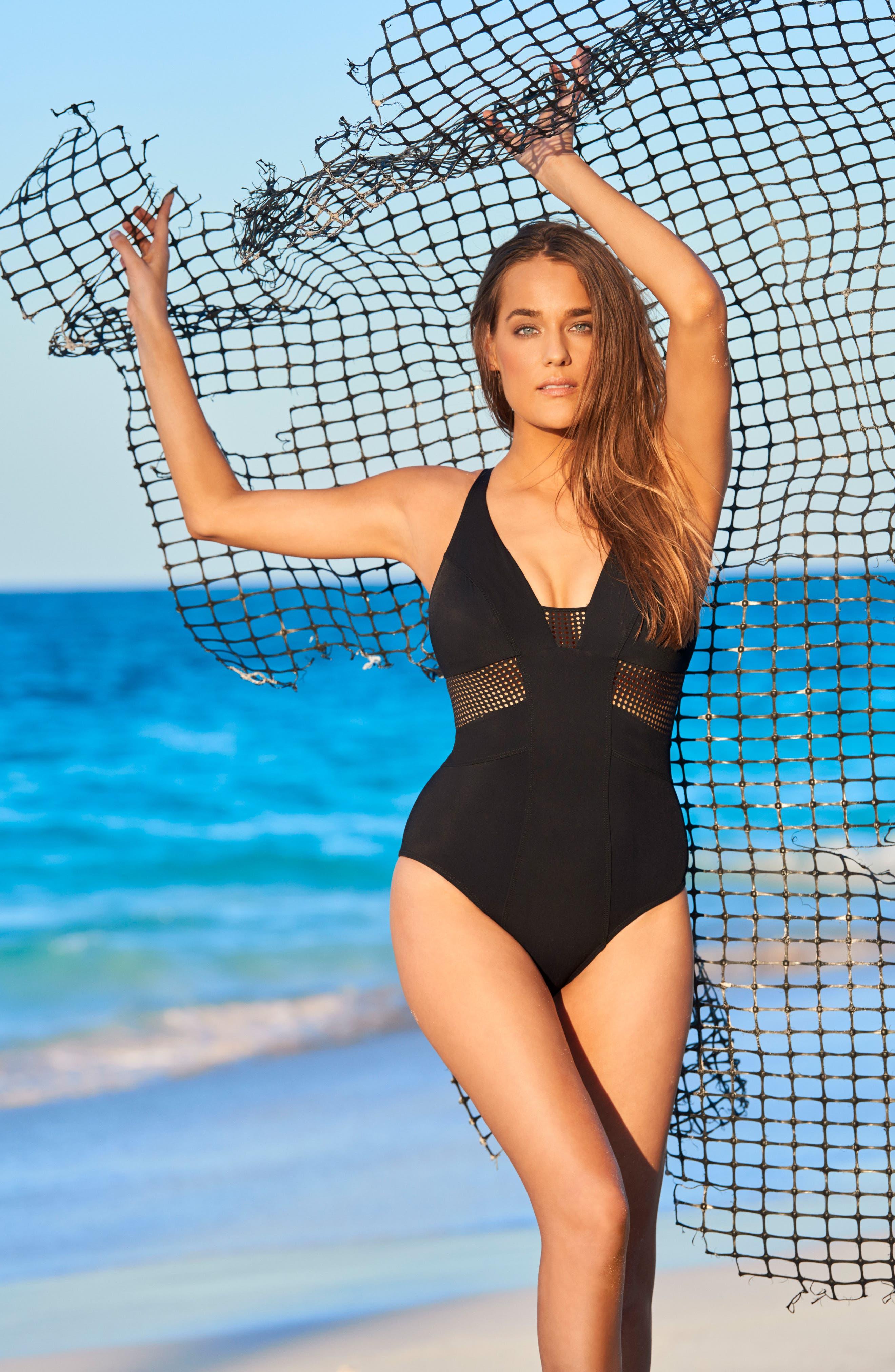 Hustle Margaux One-Piece Swimsuit,                             Alternate thumbnail 3, color,                             BLACK