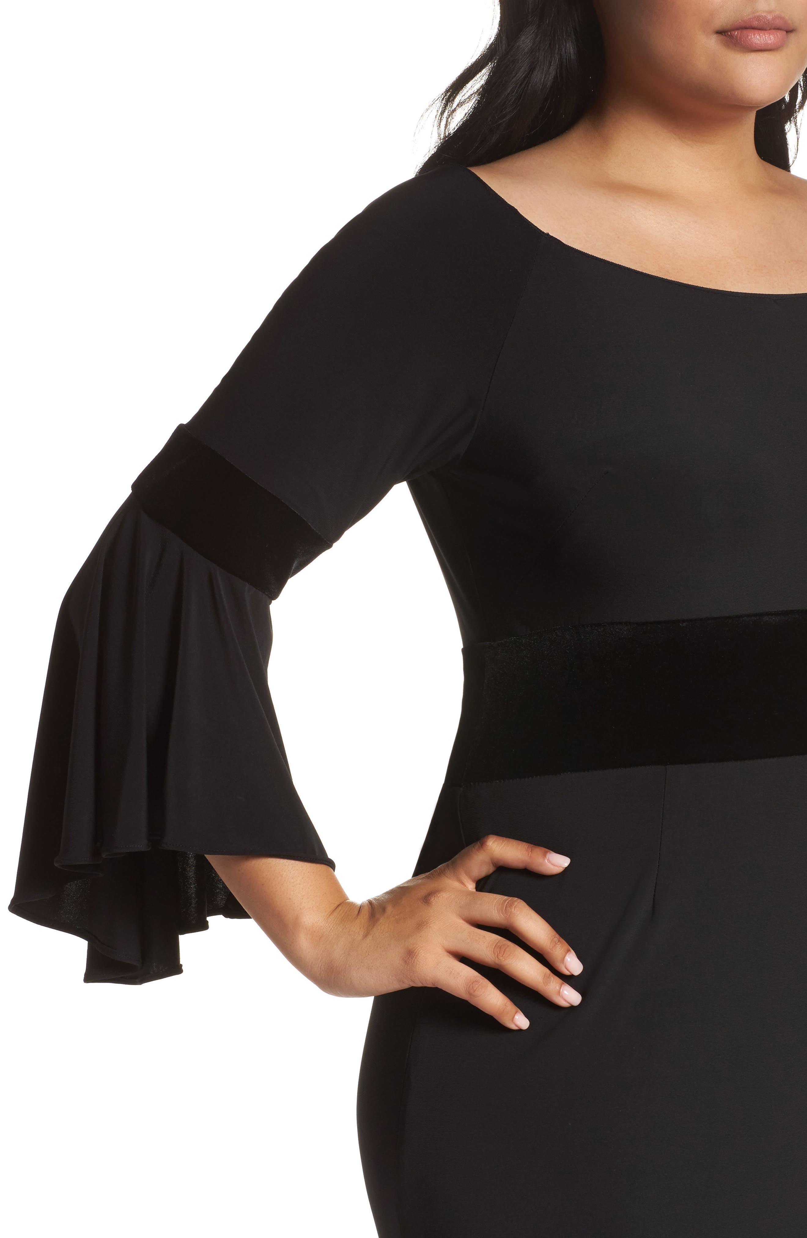 Velvet Trim Maxi Dress,                             Alternate thumbnail 4, color,                             001