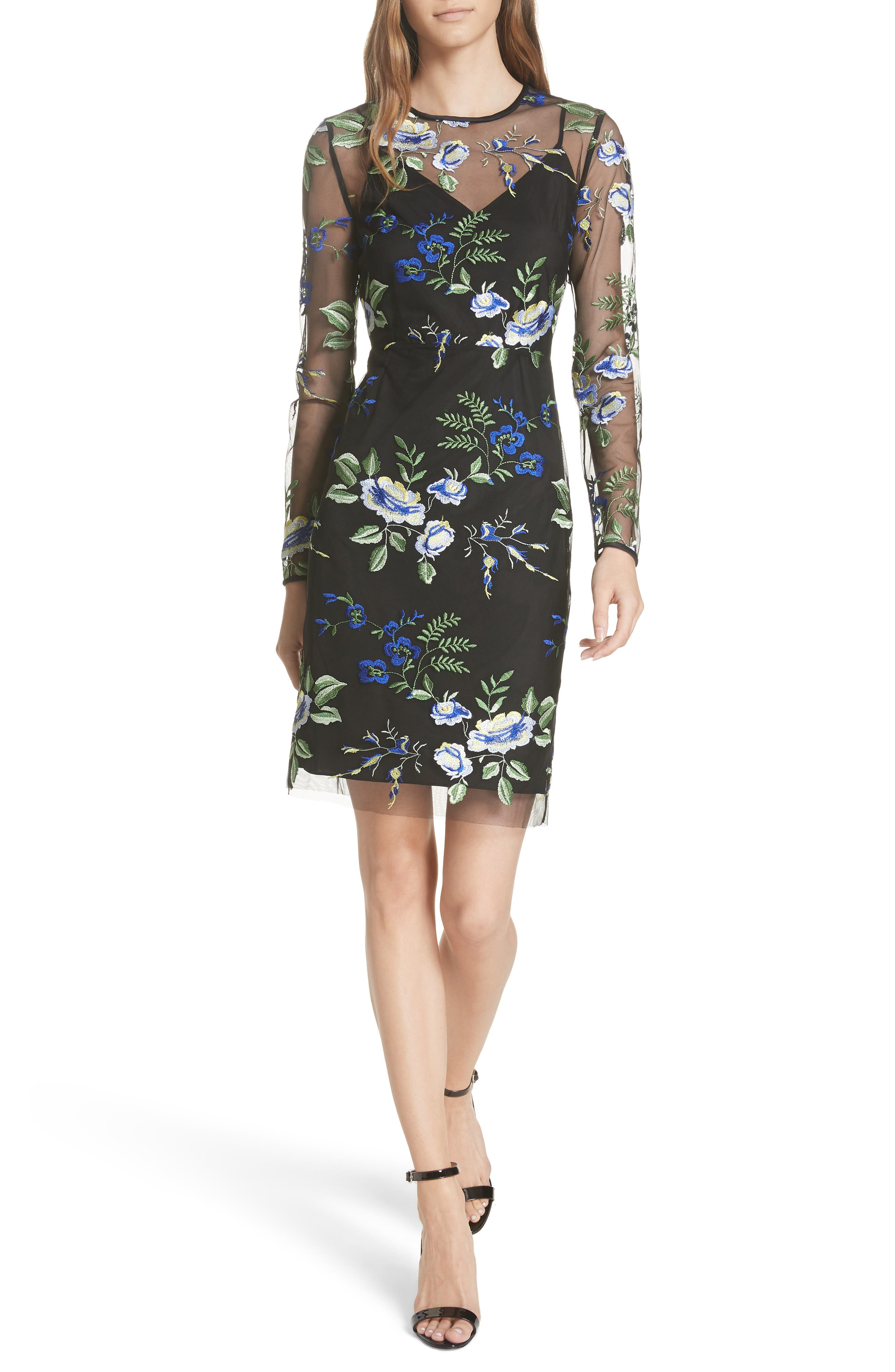 Embroidered Overlay Dress,                             Main thumbnail 1, color,                             002