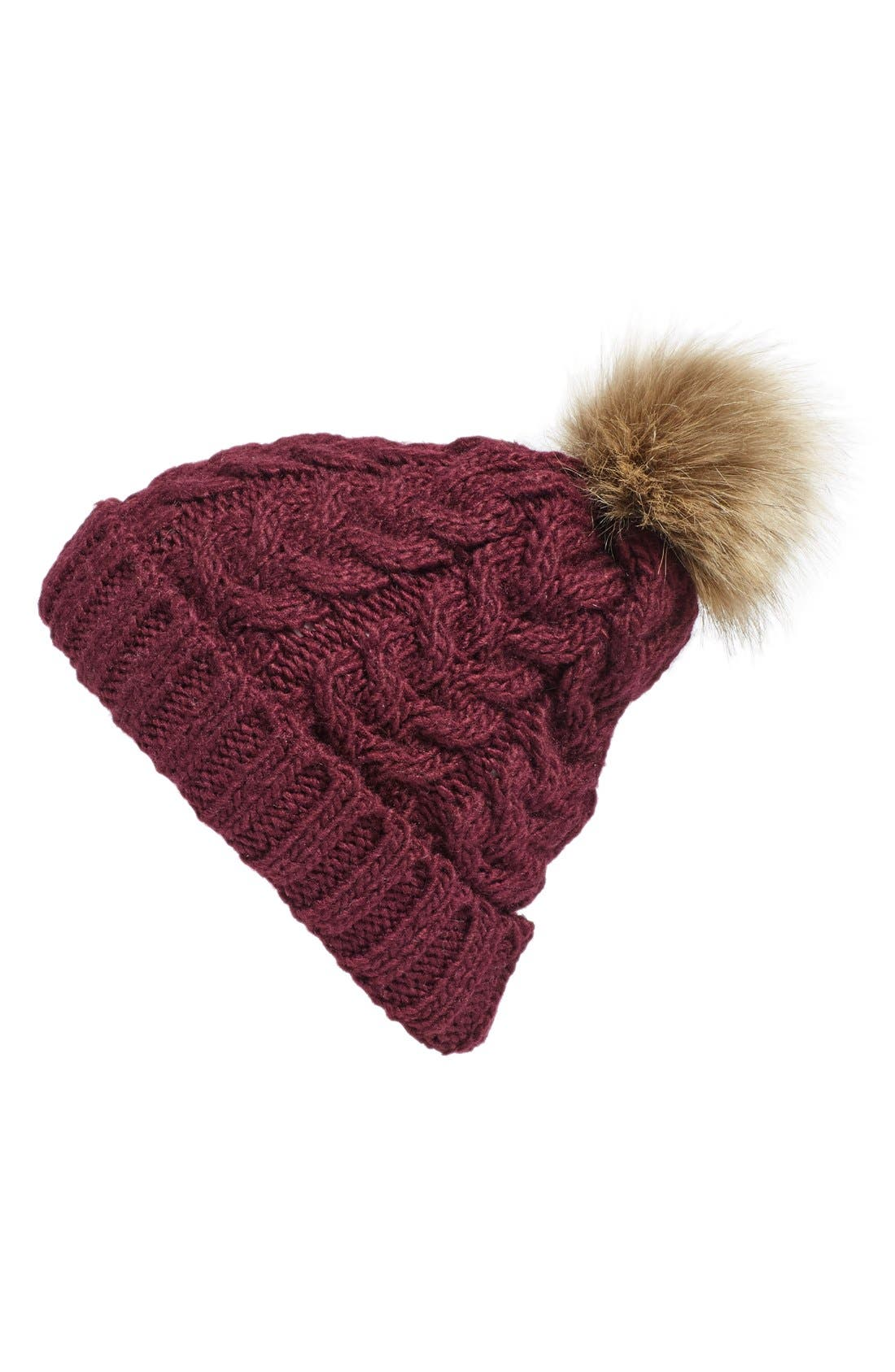 Knit Beanie with Faux Fur Pompom,                             Main thumbnail 7, color,