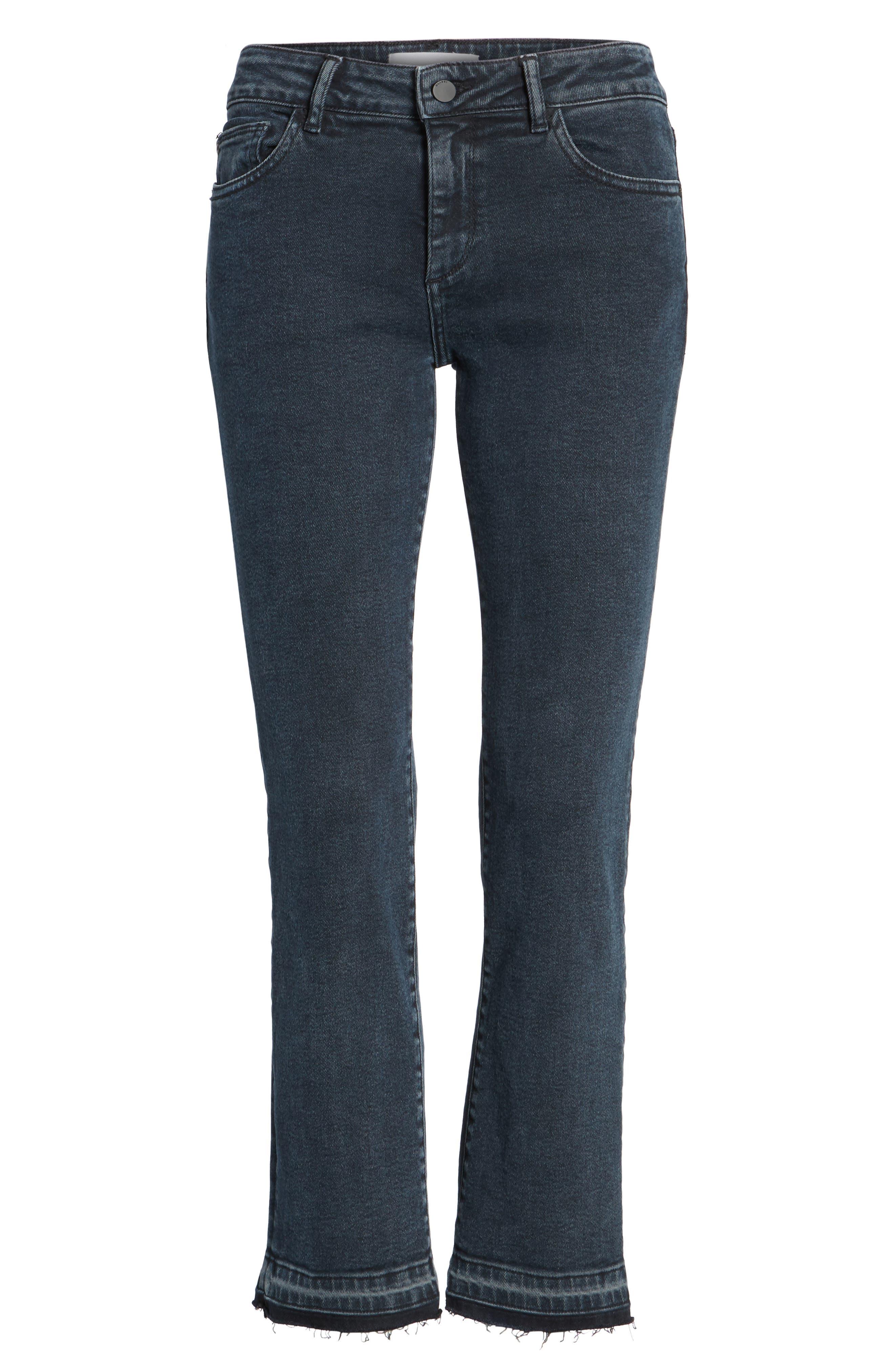 Mara Ankle Snap Straight Leg Jeans,                             Alternate thumbnail 6, color,                             416