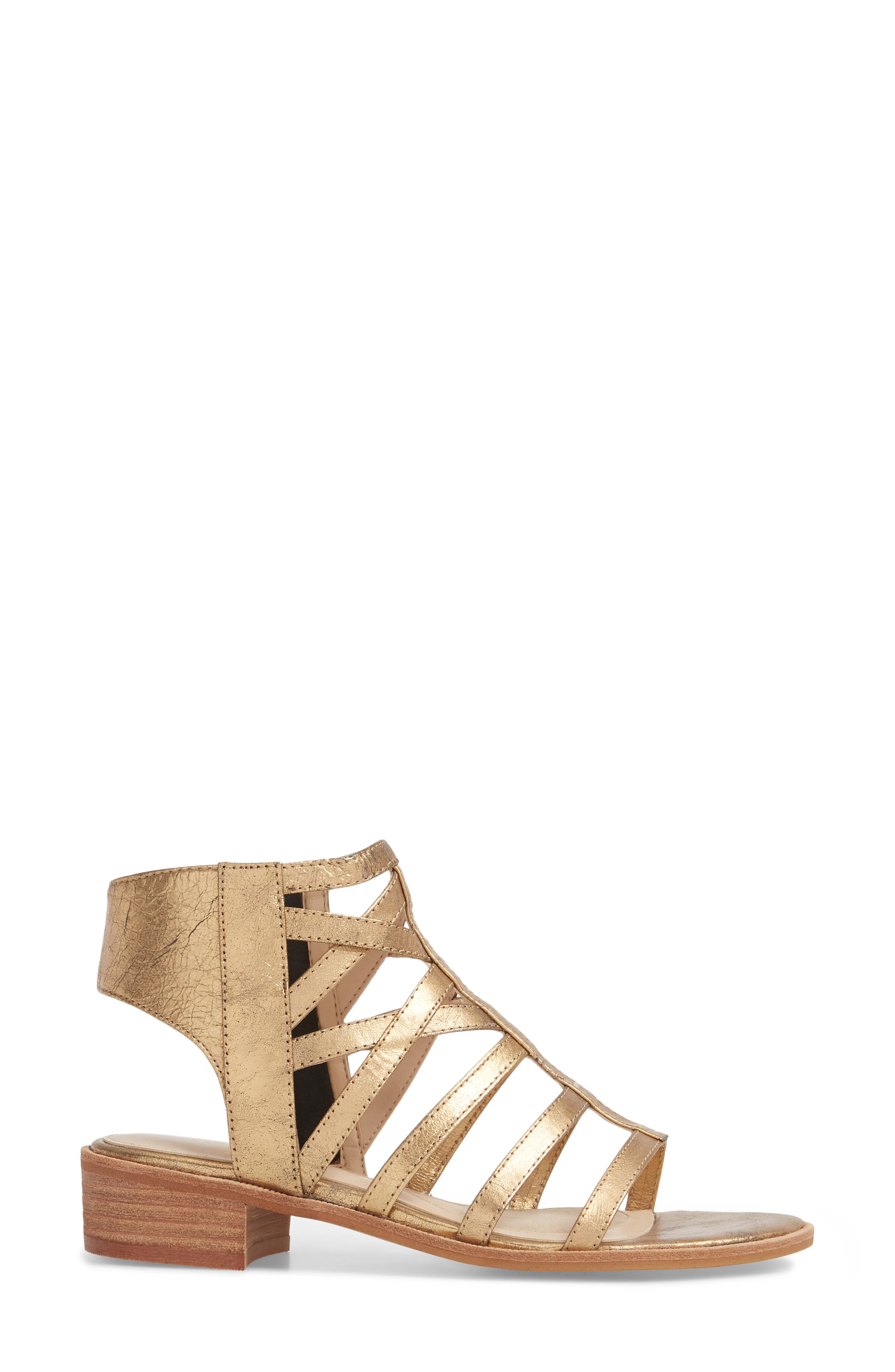 Genesis Cage Sandal,                             Alternate thumbnail 3, color,                             OLD GOLD LEATHER
