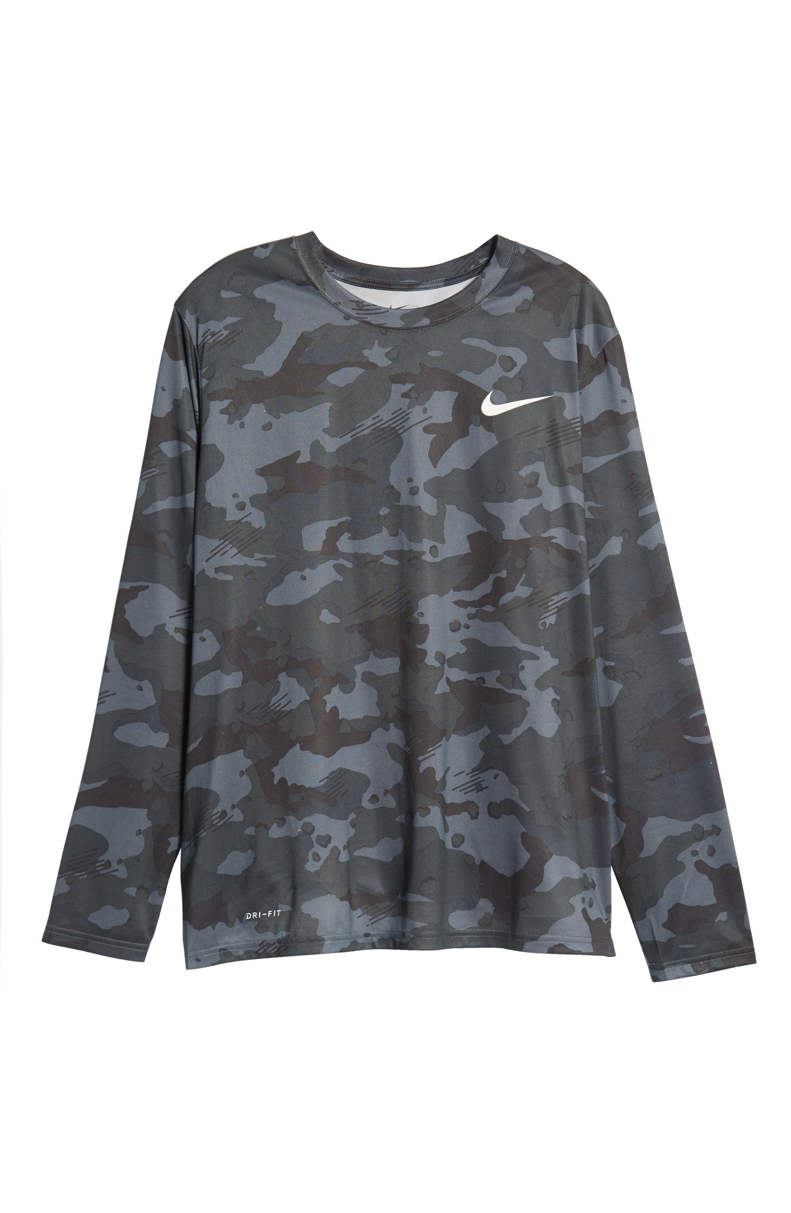 Dry Long Sleeve Camo T-Shirt,                             Alternate thumbnail 6, color,                             DARK GREY/ WHITE