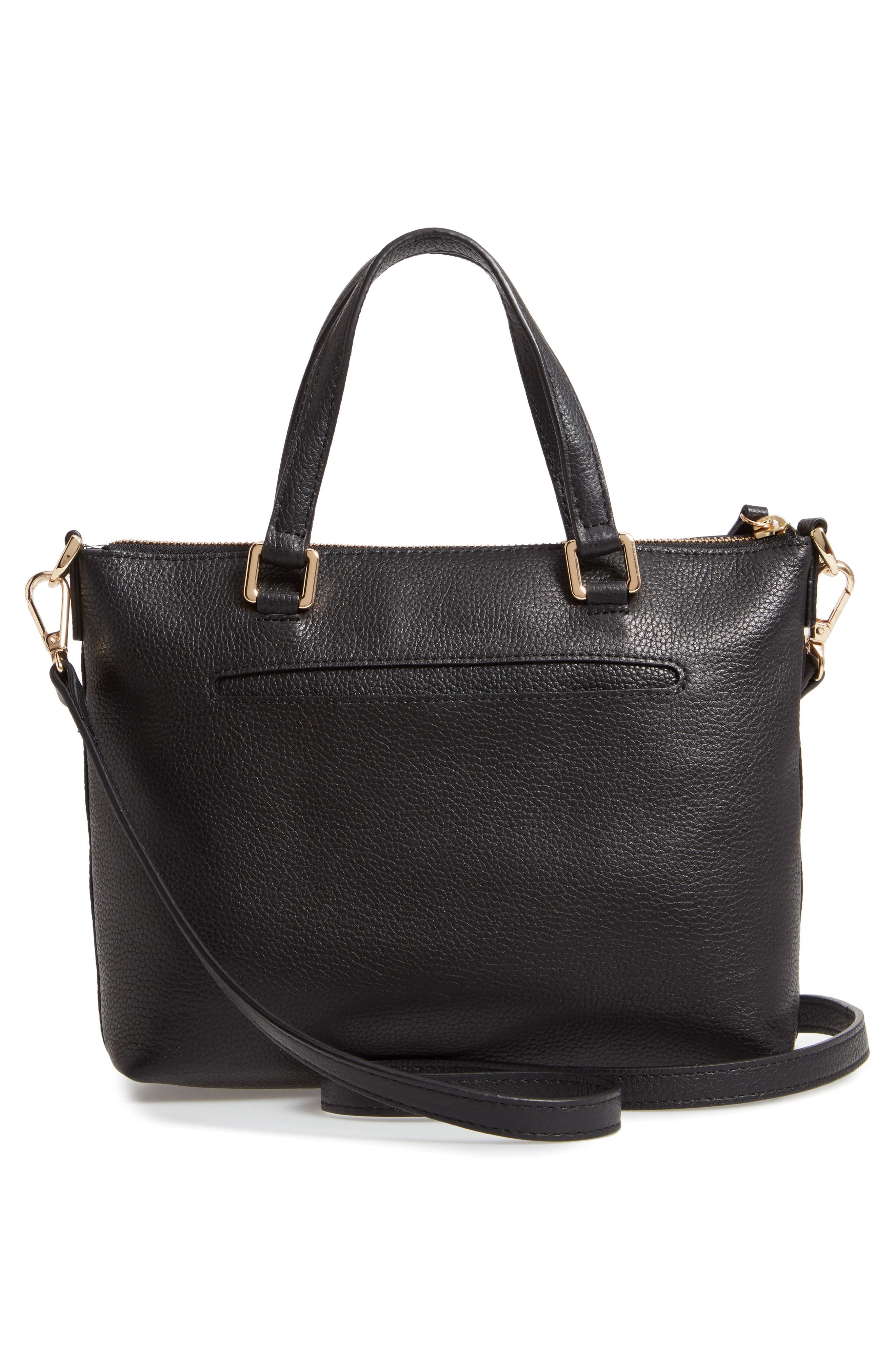 Lexa Leather Crossbody Bag,                             Alternate thumbnail 3, color,                             BLACK