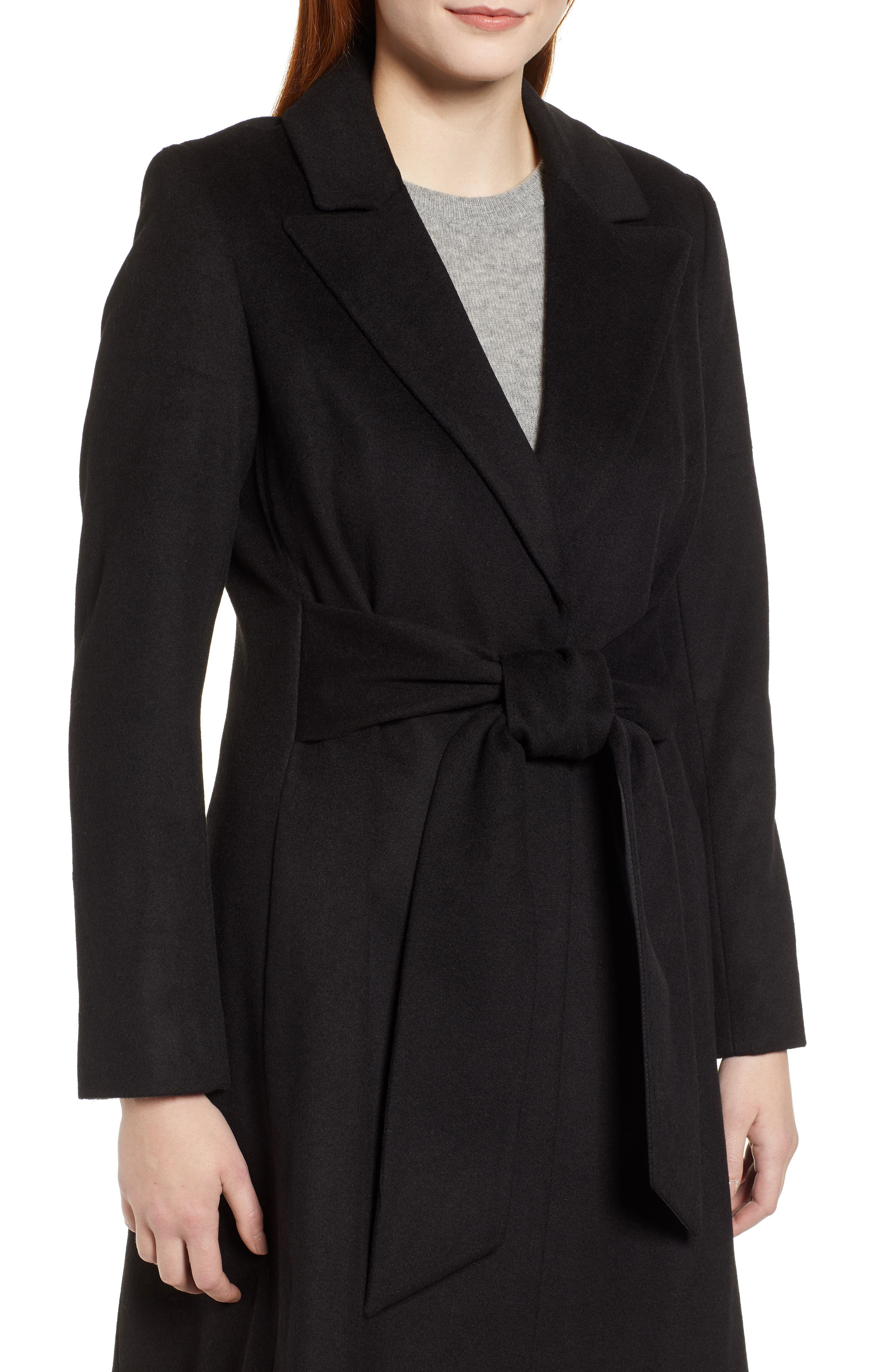 Wool Blend Trench Coat,                             Alternate thumbnail 4, color,                             BLACK
