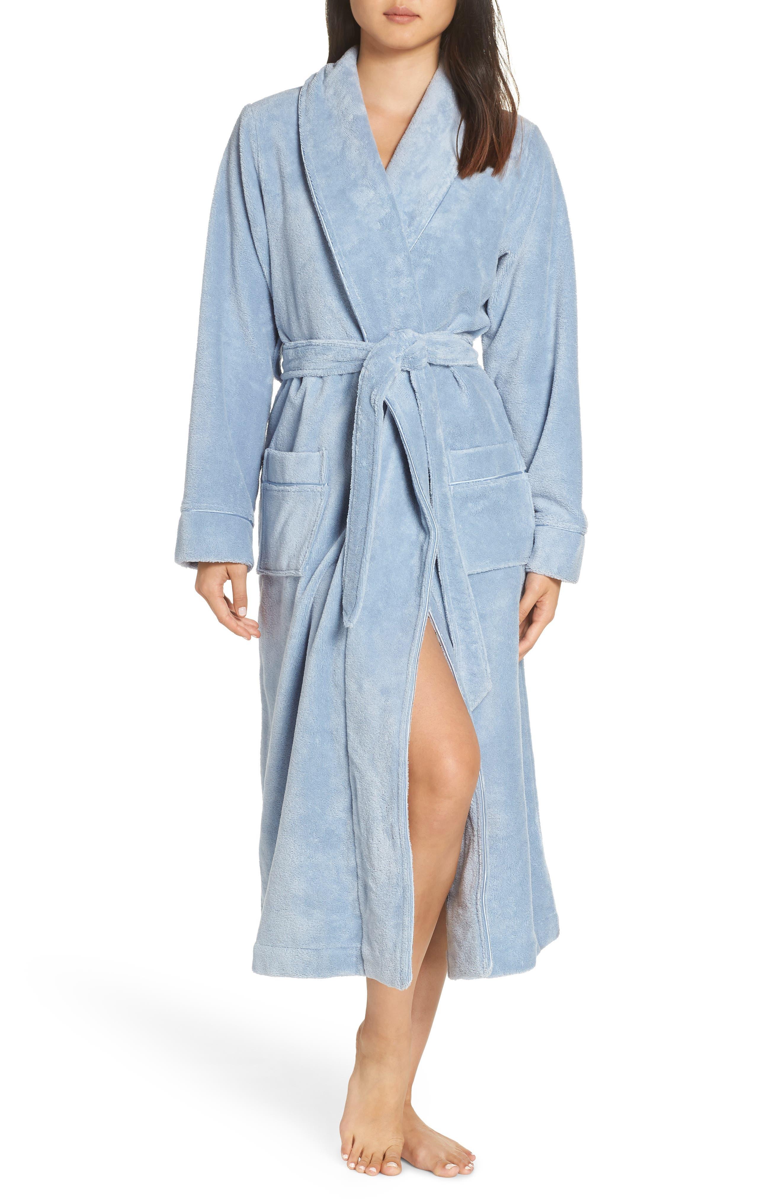 Terry Velour Robe, Main, color, BLUE FOG
