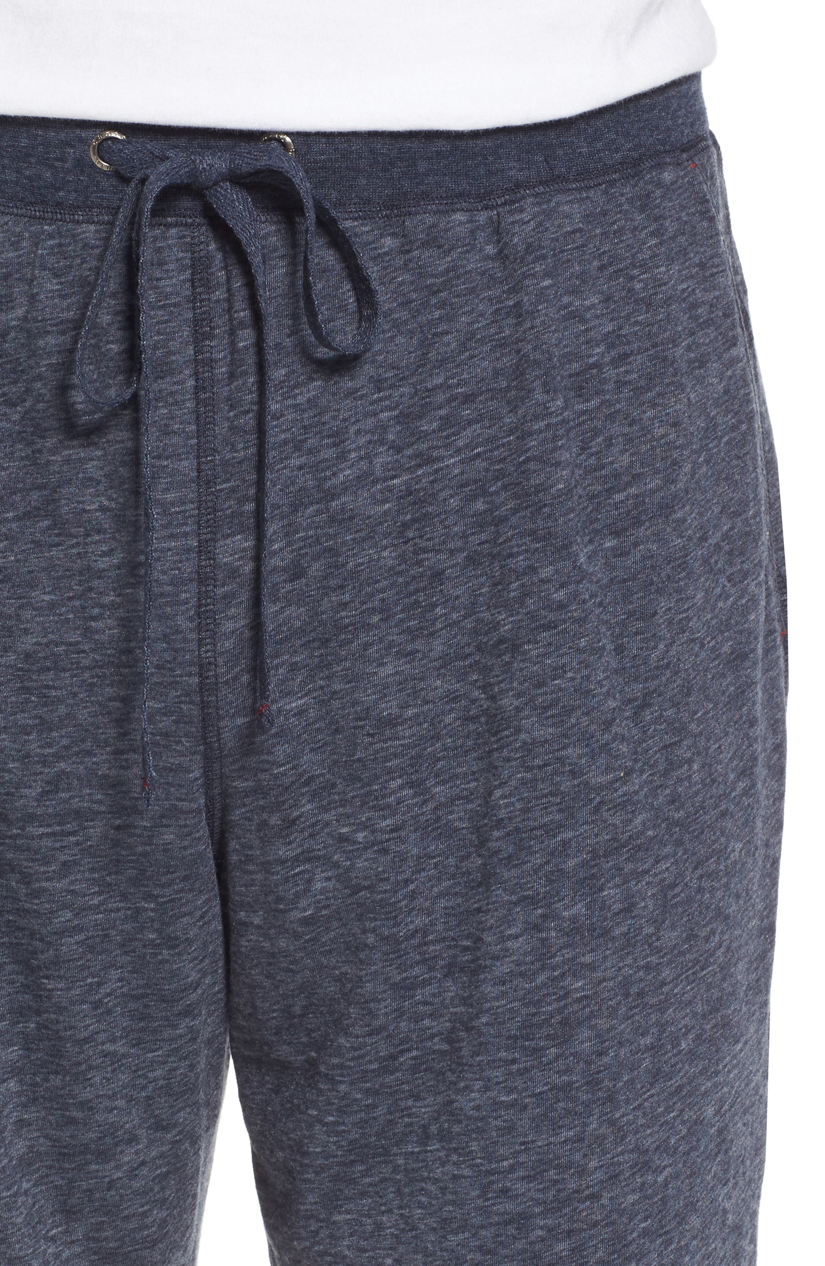 Recycled Cotton Blend Lounge Shorts,                             Alternate thumbnail 4, color,                             NAVY HEATHER