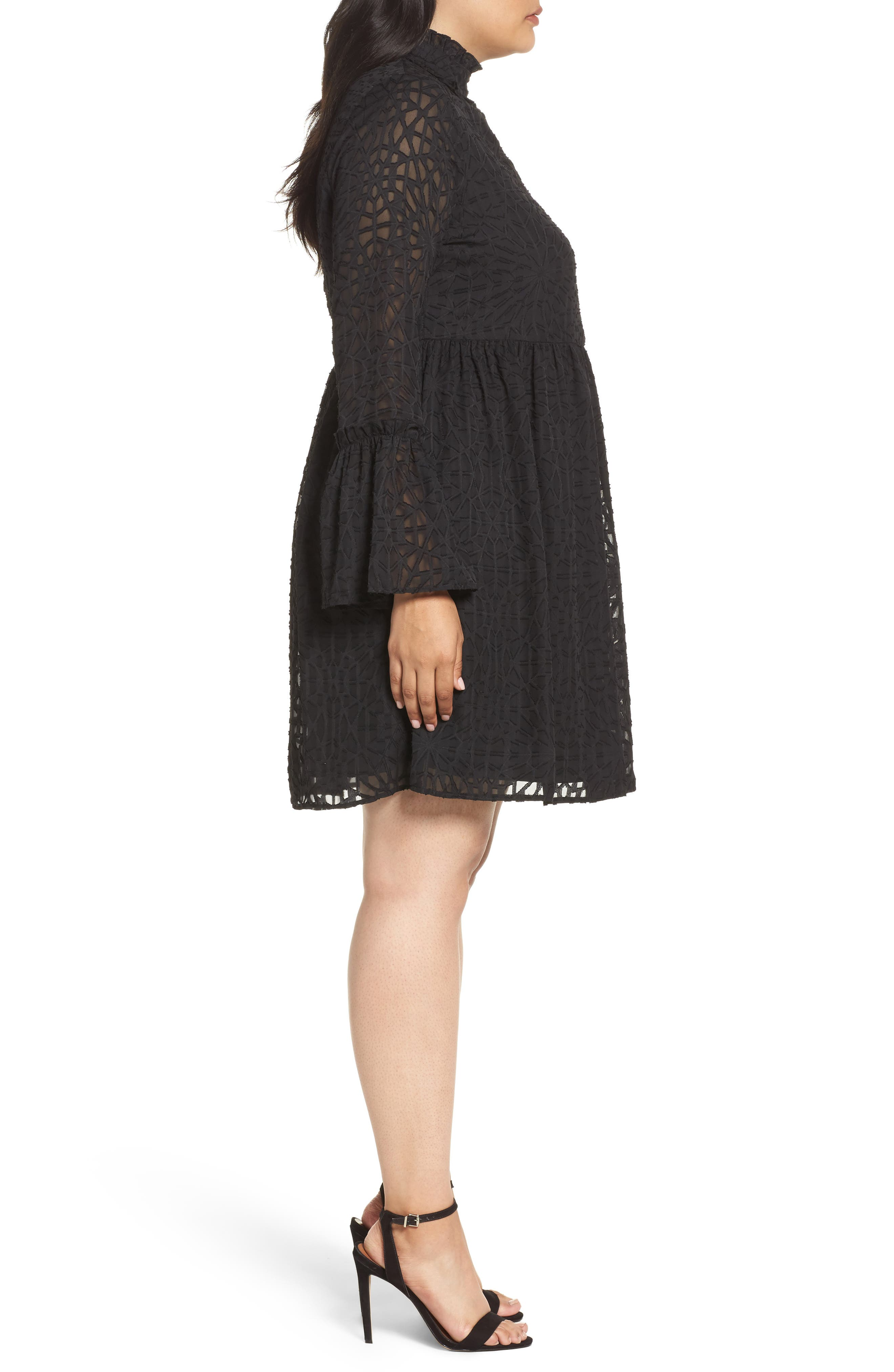 Geo Lace Fit & Flare Dress,                             Alternate thumbnail 3, color,                             001