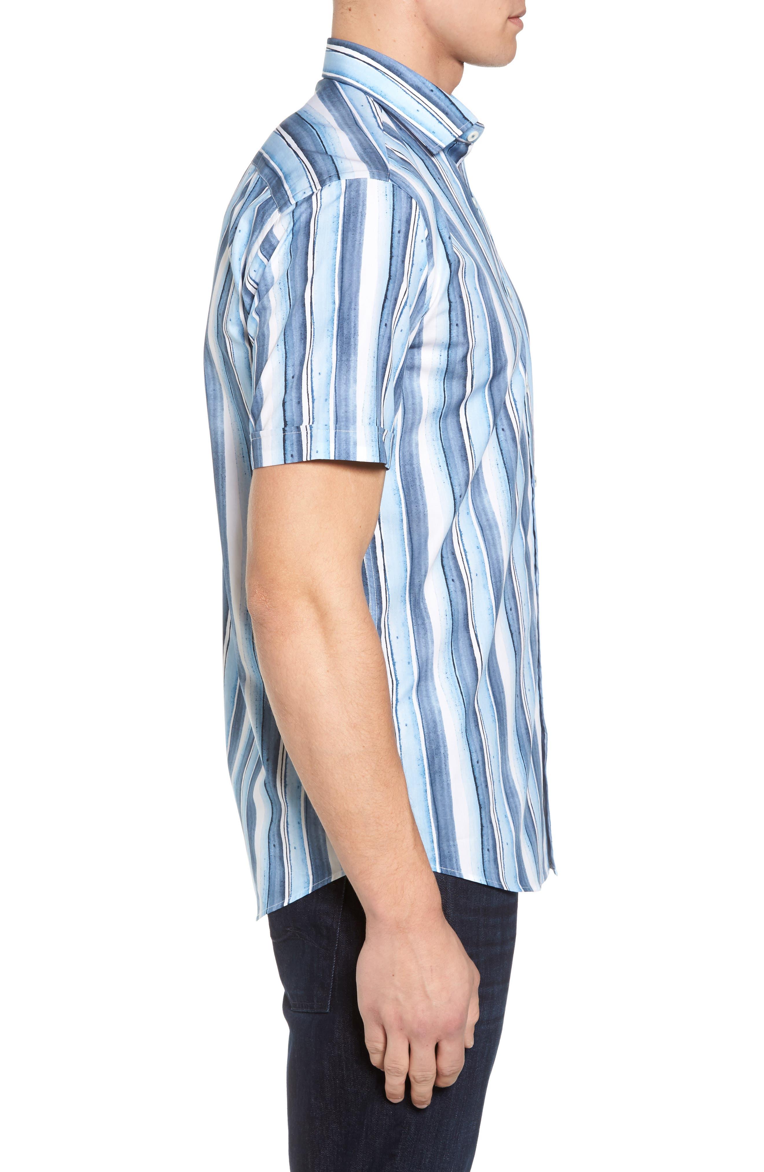 Shaped Fit Stripe Sport Shirt,                             Alternate thumbnail 3, color,                             409