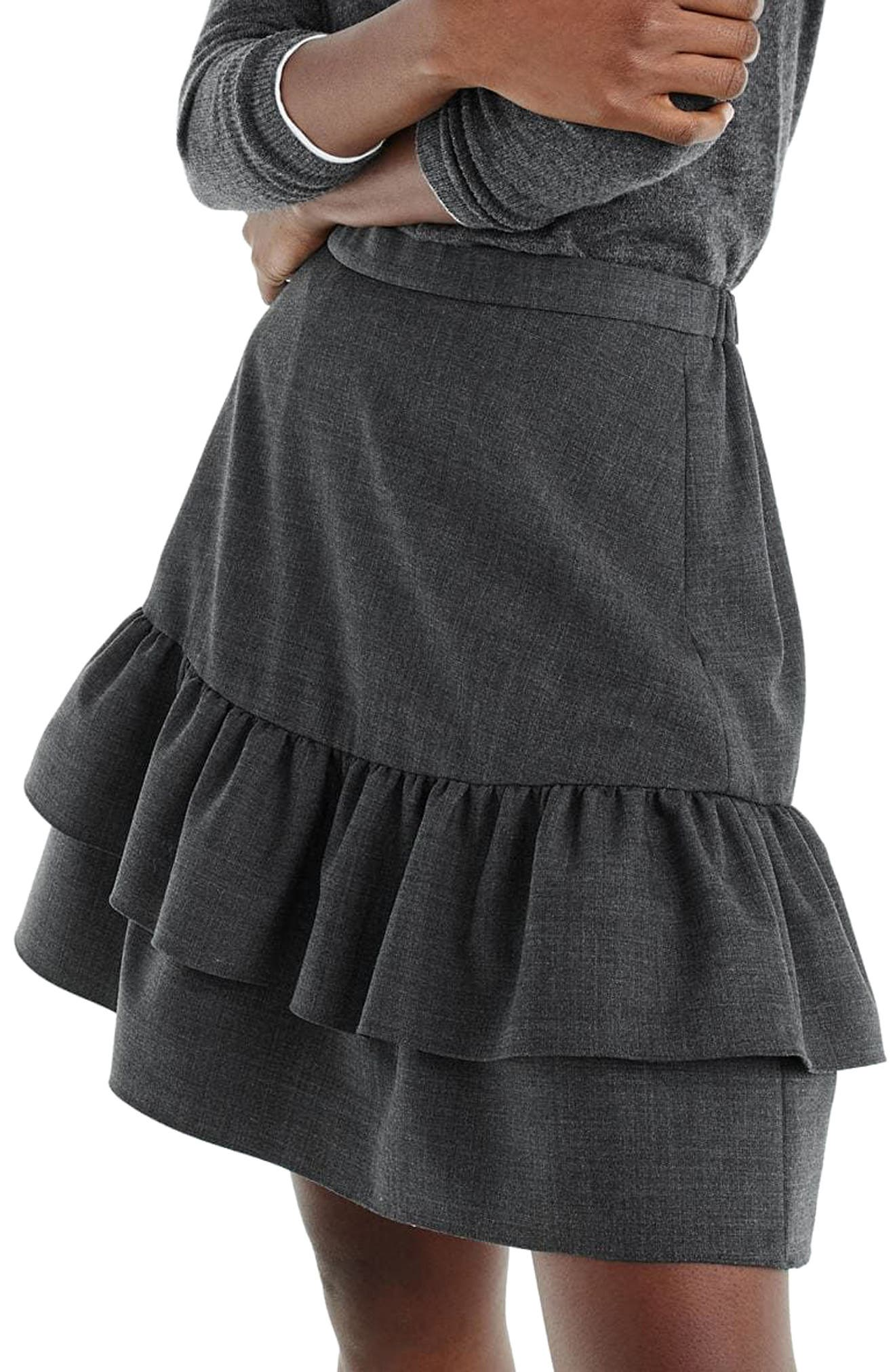 Wool Flannel Ruffle Skirt,                             Alternate thumbnail 3, color,                             020