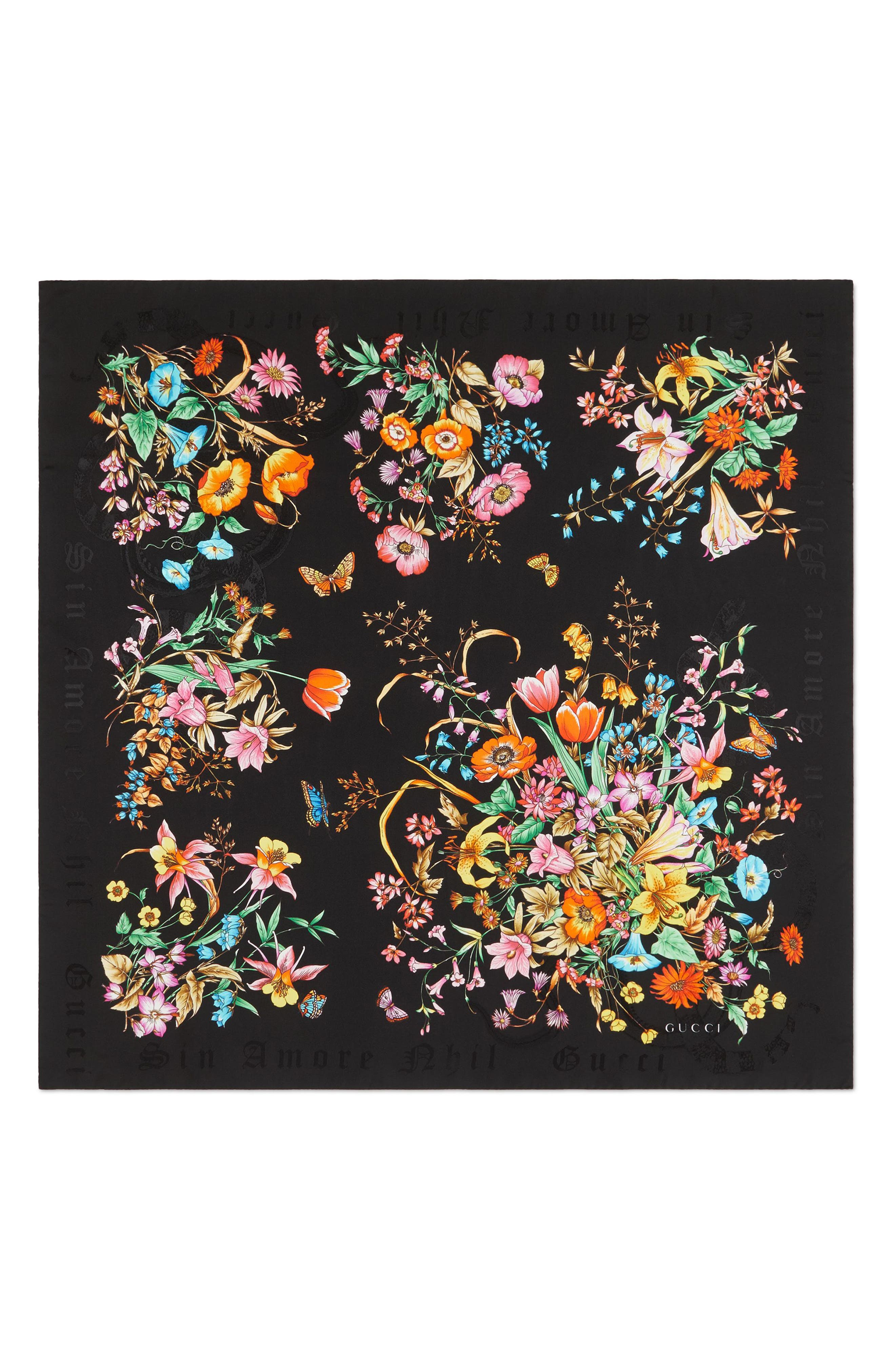 Sine Bouquet Silk Twill Scarf,                             Main thumbnail 1, color,                             BLACK/ BLACK